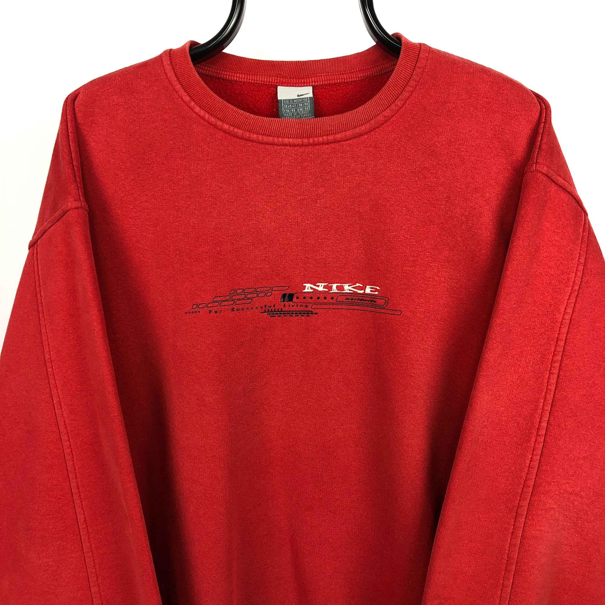 Vintage Nike Graffiti Spellout Sweatshirt in Red - Men's Large/Women's XL