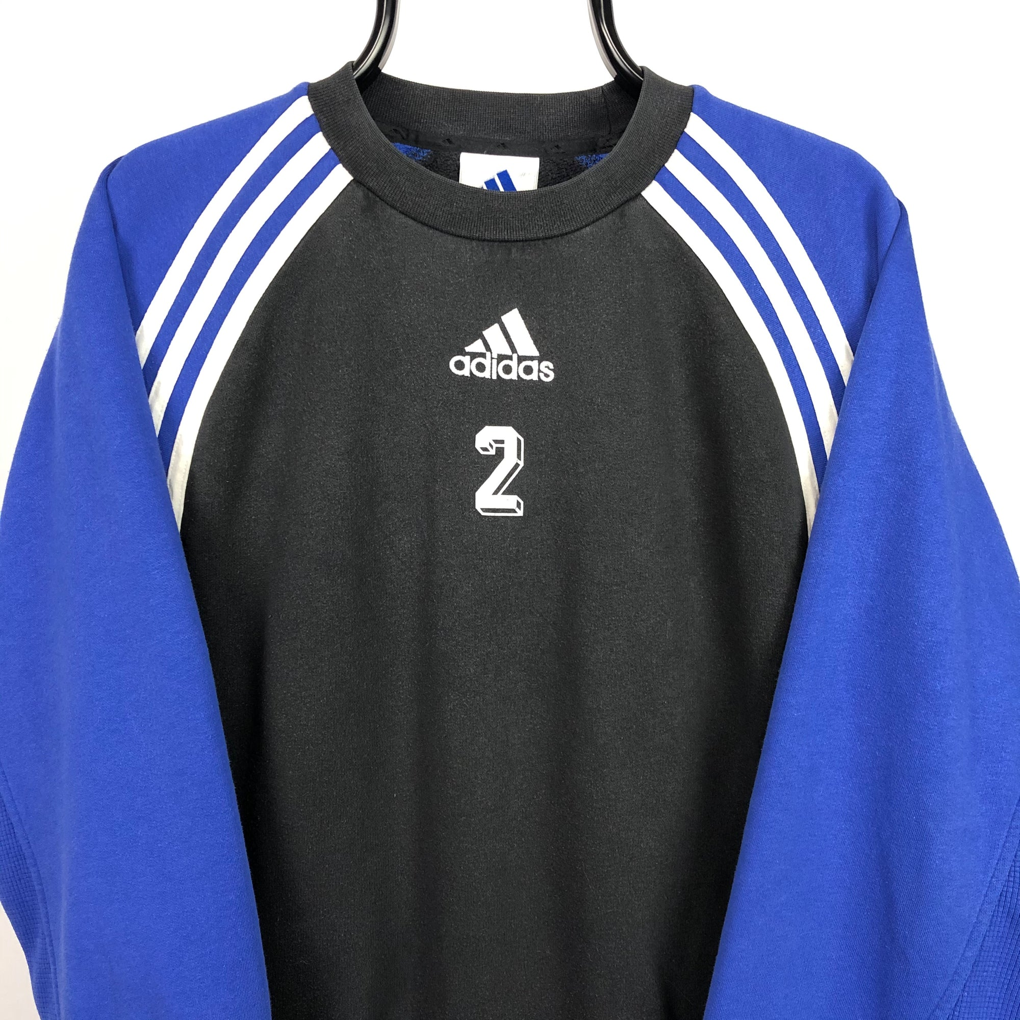 Vintage 90s Adidas Embroidered Centre Logo Sweatshirt in Black/Blue/White - Men's Medium/Women's Large