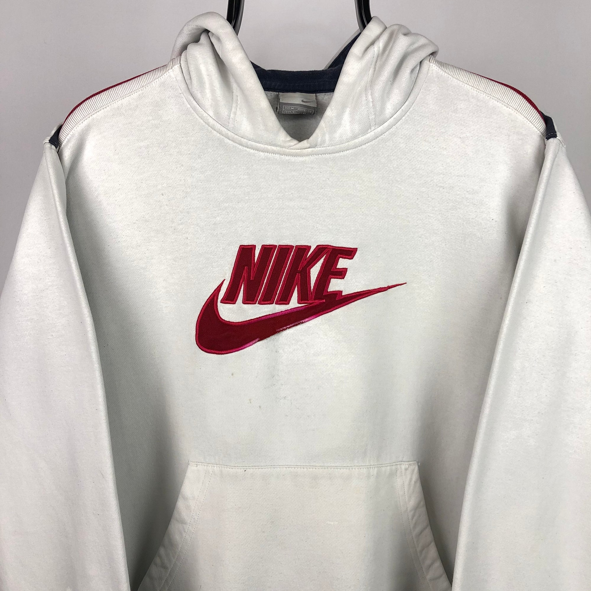 Vintage Nike Spellout Hoodie in White/Red - Men's Medium/Women's Large