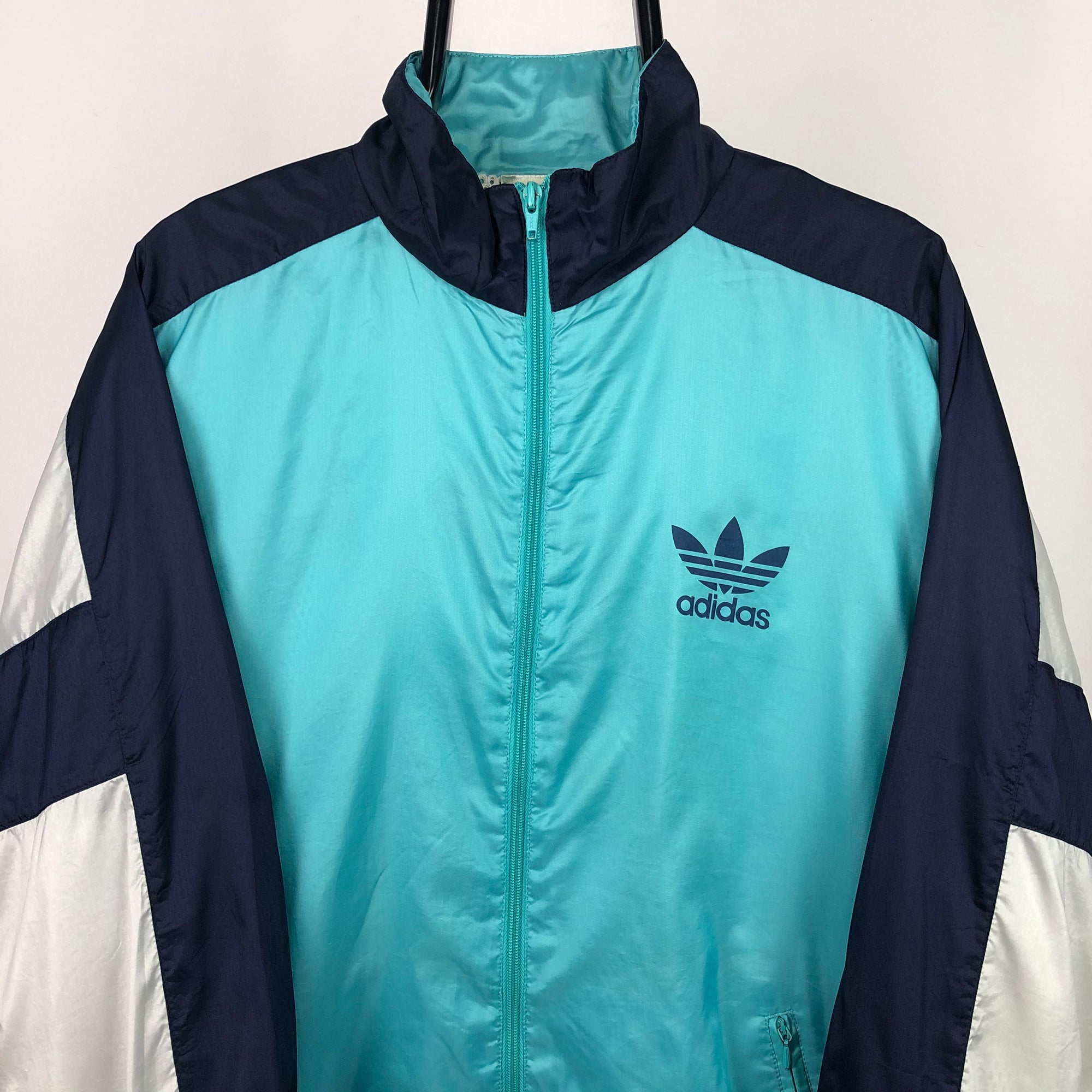Vintage 90s Adidas Track Jacket in Turquoise/Navy/White - Men's Large/Women's XL
