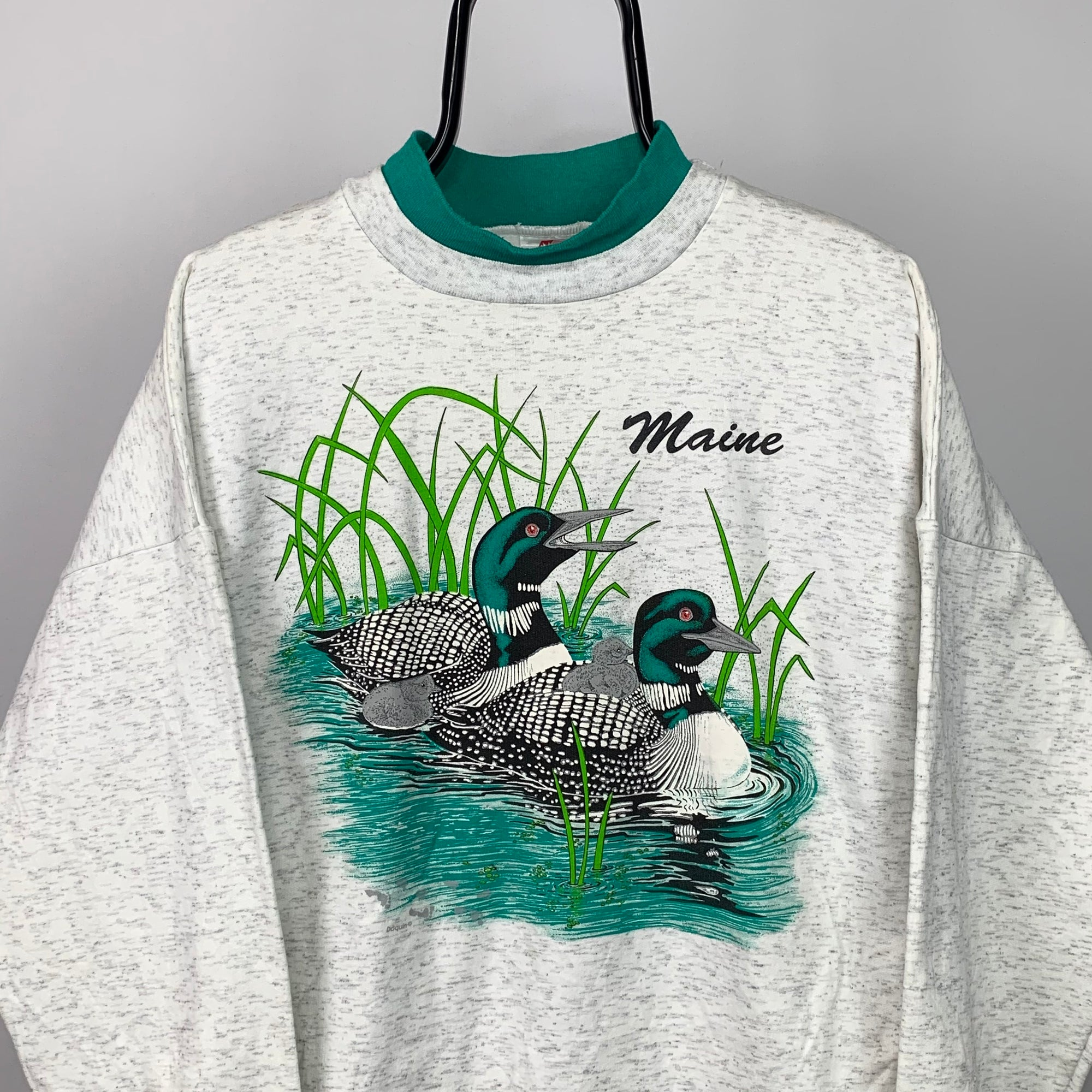 Vintage 90s Maine 'Duck' Print Sweatshirt - Men's Medium/Women's Large