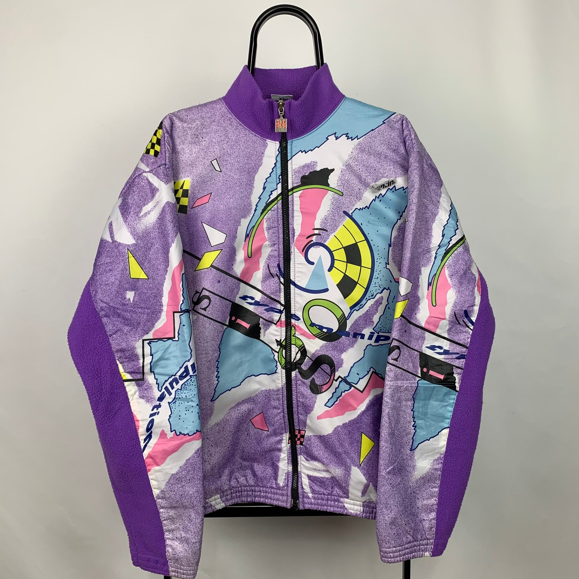 Vintage Crazy Print Zip Up Windbreaker Fleece - Men's Large/Women's XL