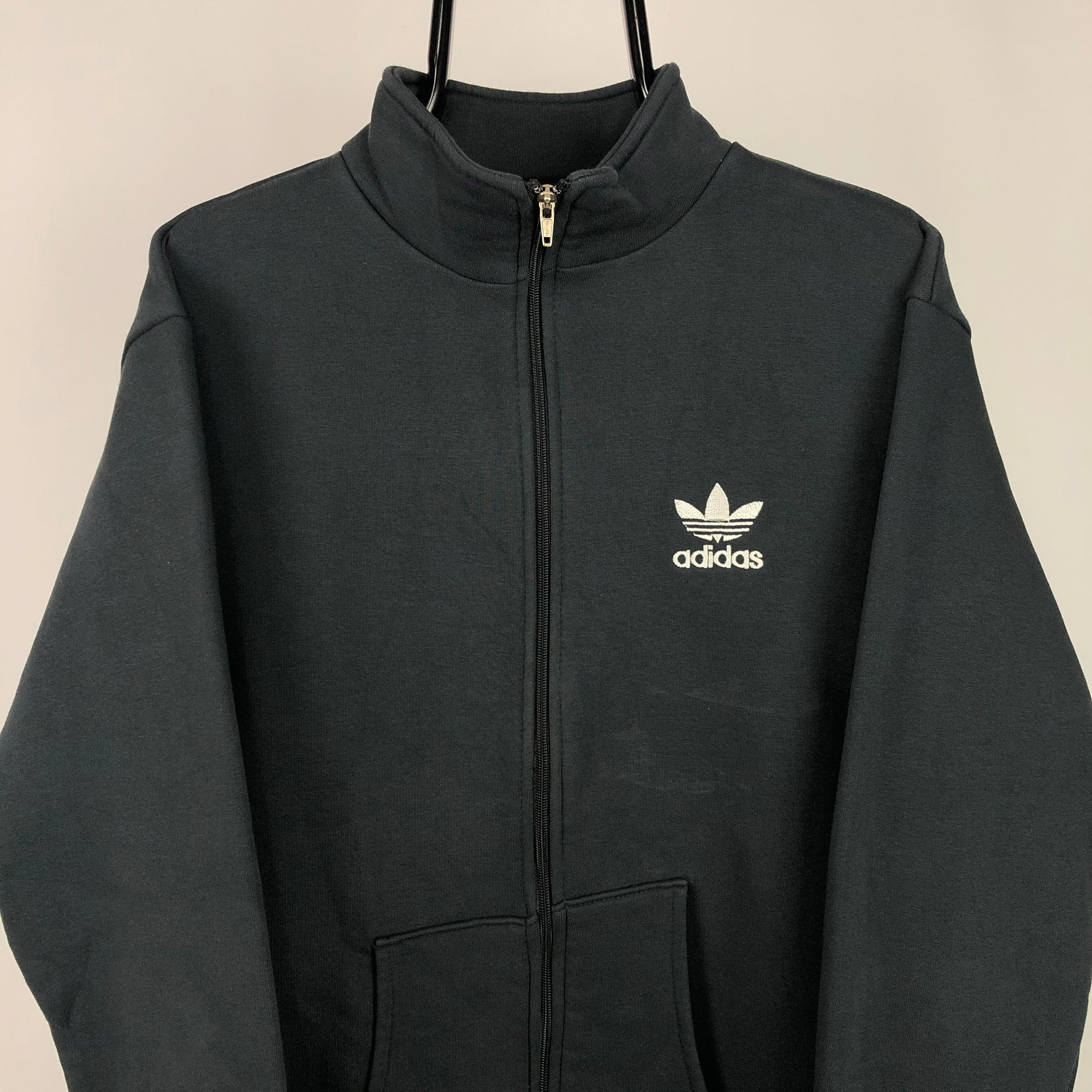 Adidas Embroidered Small Logo Zip Up Sweatshirt in Black - Men's Large/Women's XL