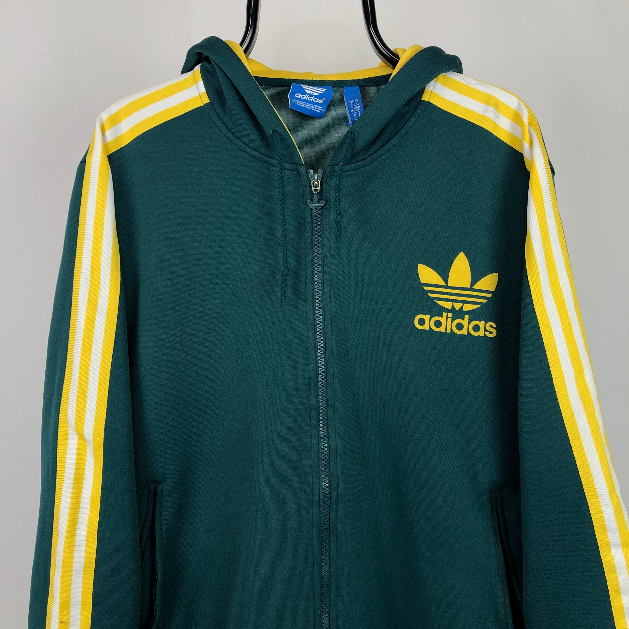 Adidas Hooded Track Jacket in Green/Yellow/White - Men's Large/Women's XL
