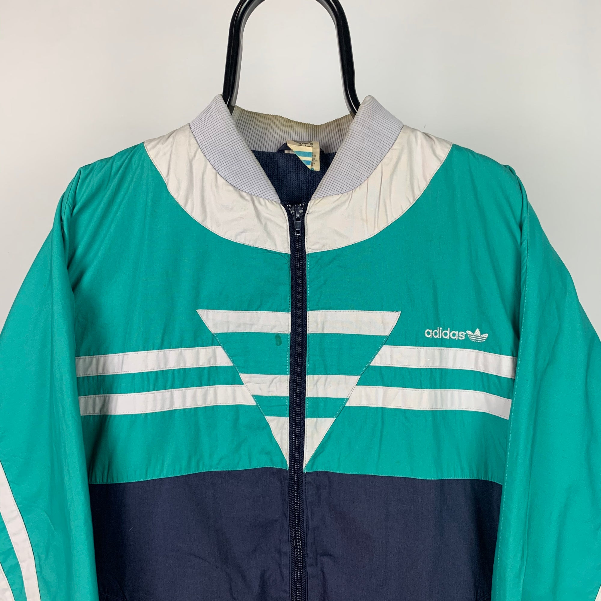Vintage 80s Adidas Track Jacket in Green/White/Navy - Men's Large/Women's XL