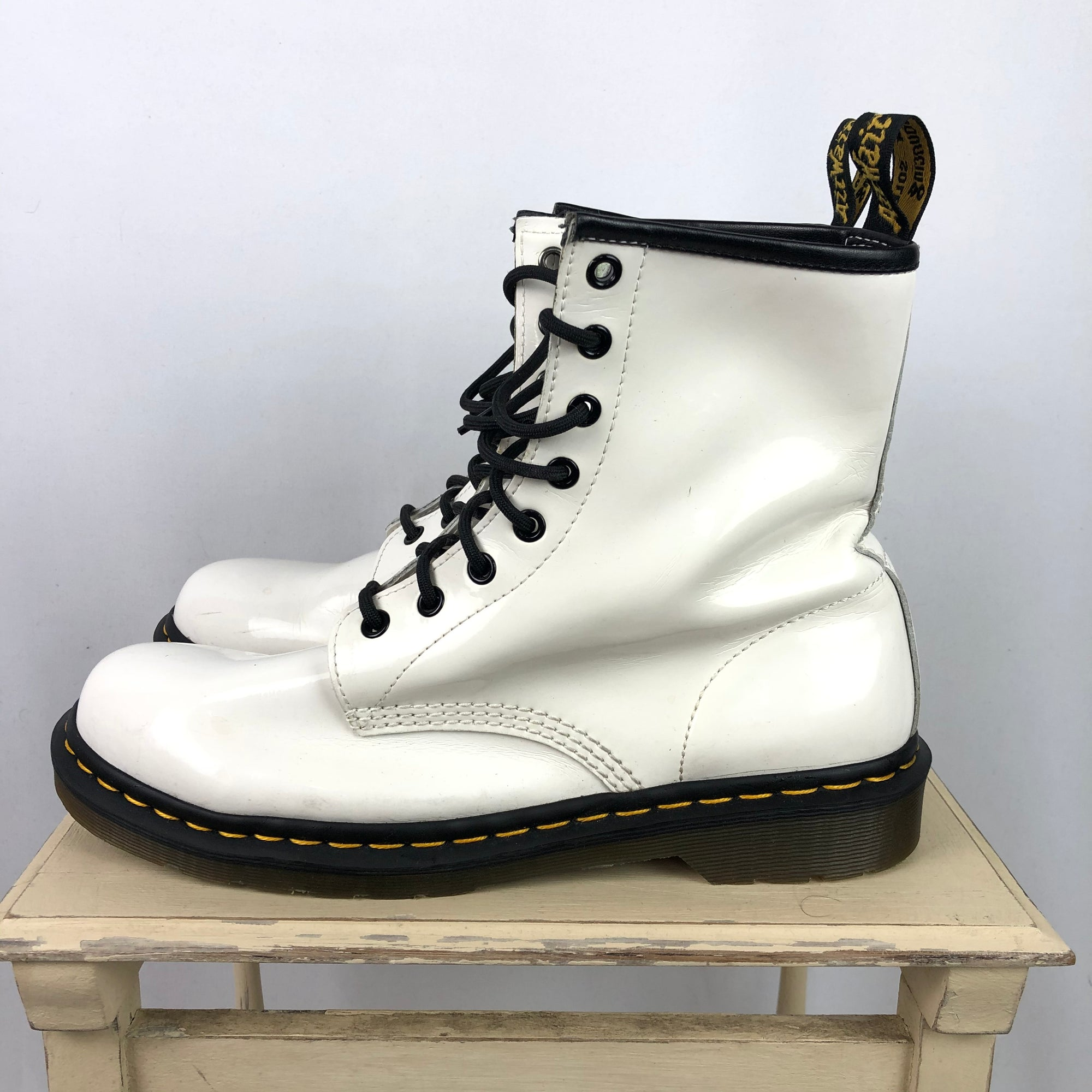 Dr Martens Patent 1460 Boots in White - UK9/EU43
