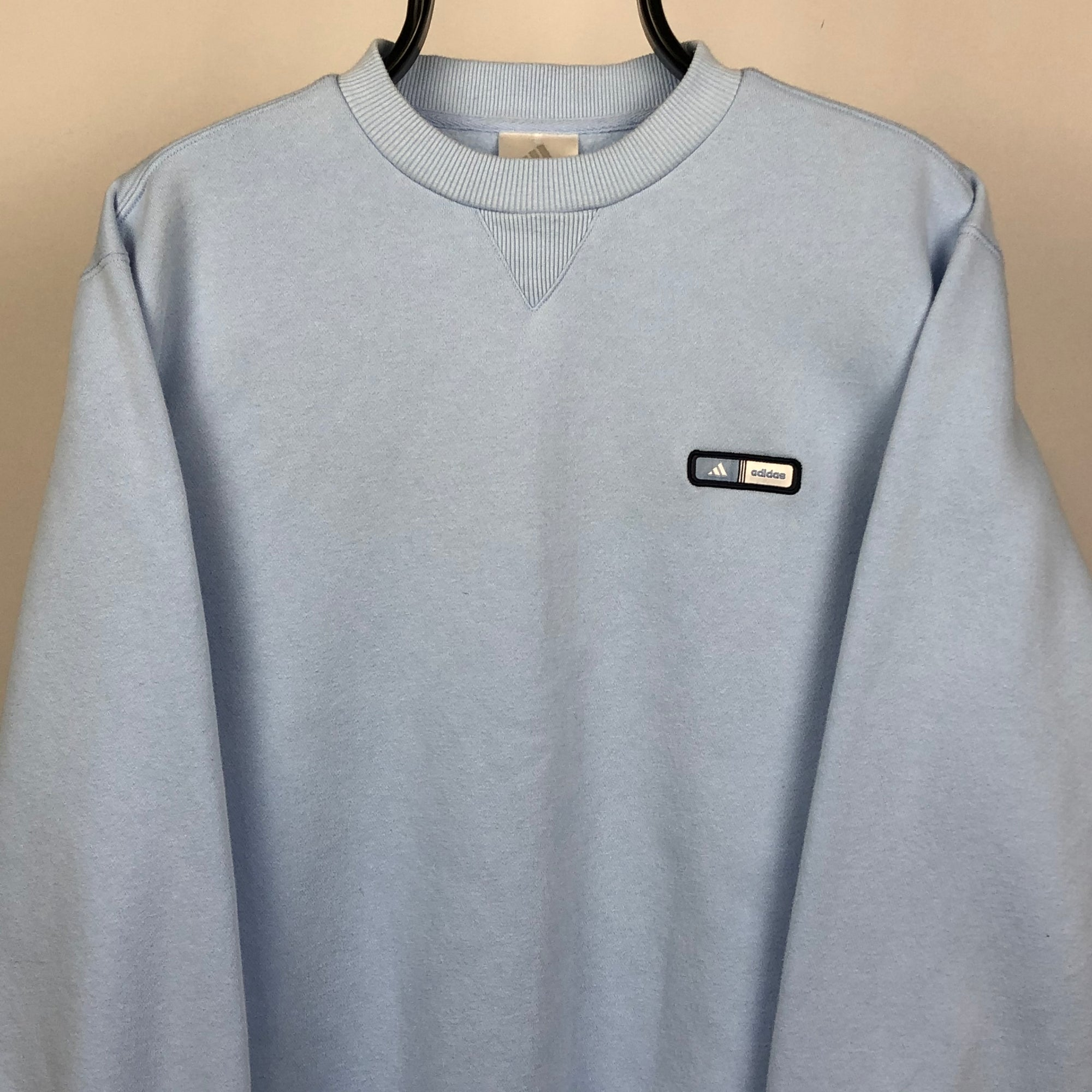 Adidas Sweatshirt in Baby Blue - Men's Medium/Women's Large
