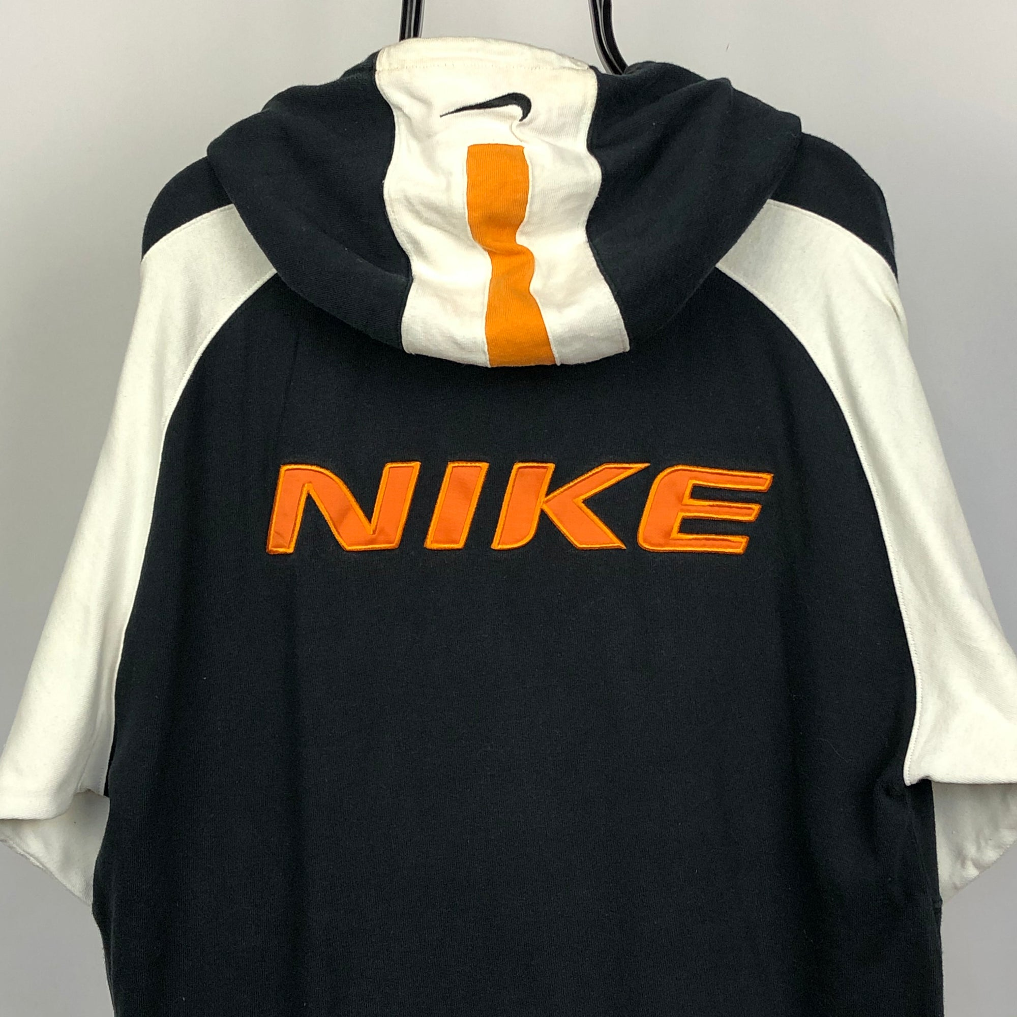 Vintage Nike Spellout Hoodie in Black, White & Orange - Men's Large/Women's XL