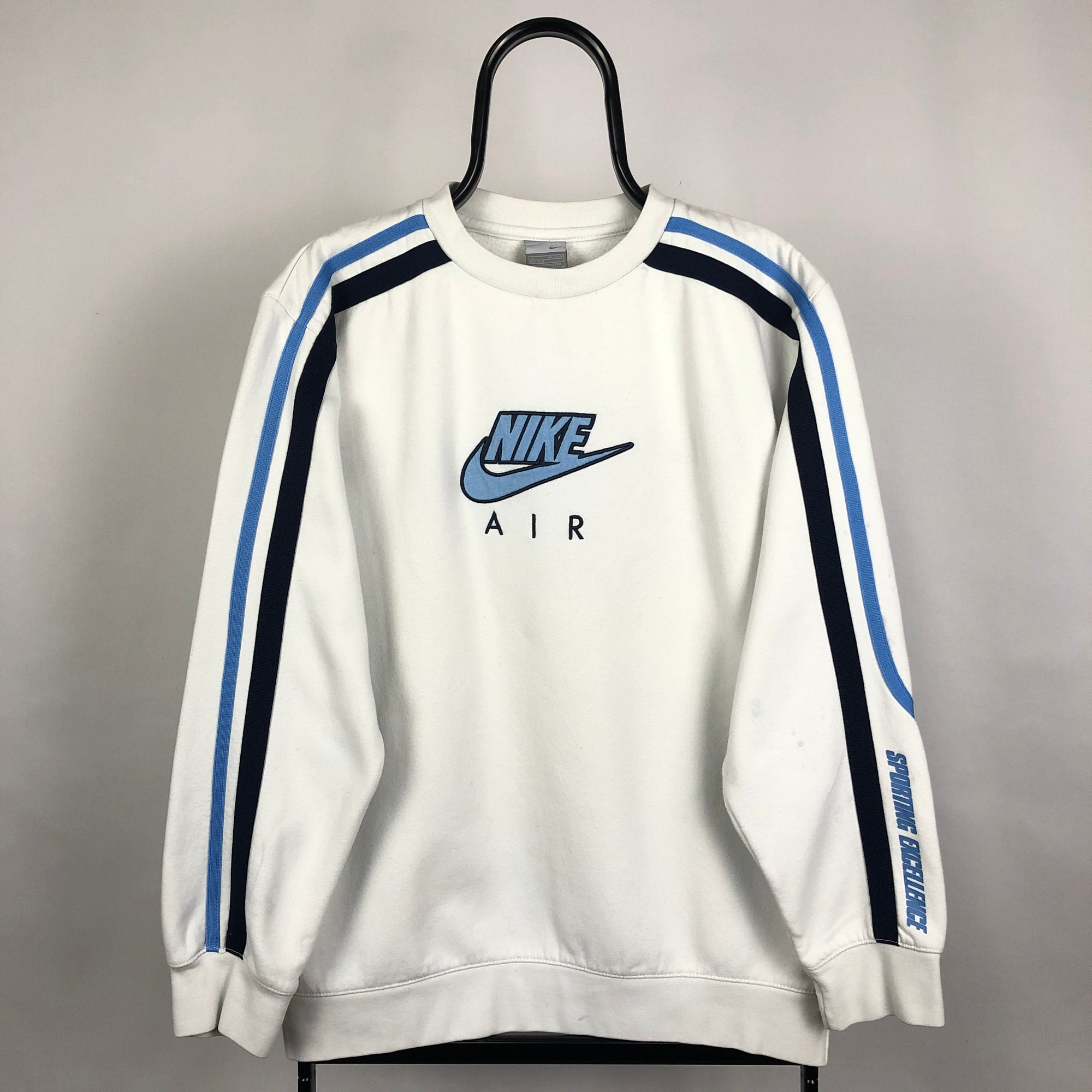 Nike Air Sweatshirt in White/Baby Blue & Navy - Men's Small/Women's Large
