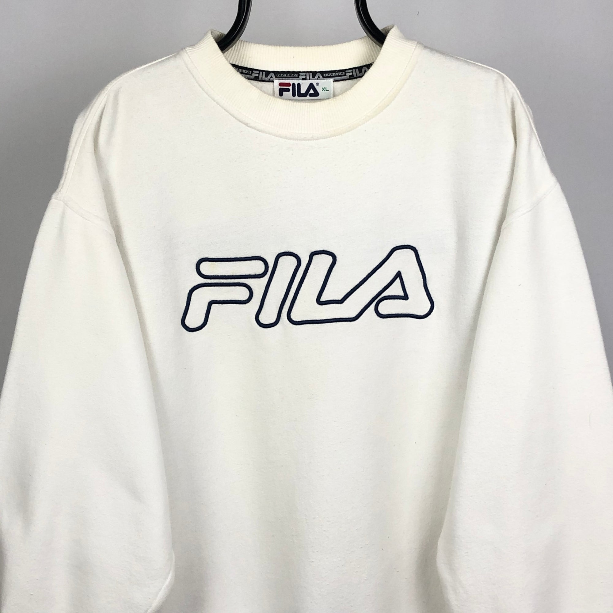 Vintage Fila Spellout Sweatshirt in White - Men's Large/Women's XL