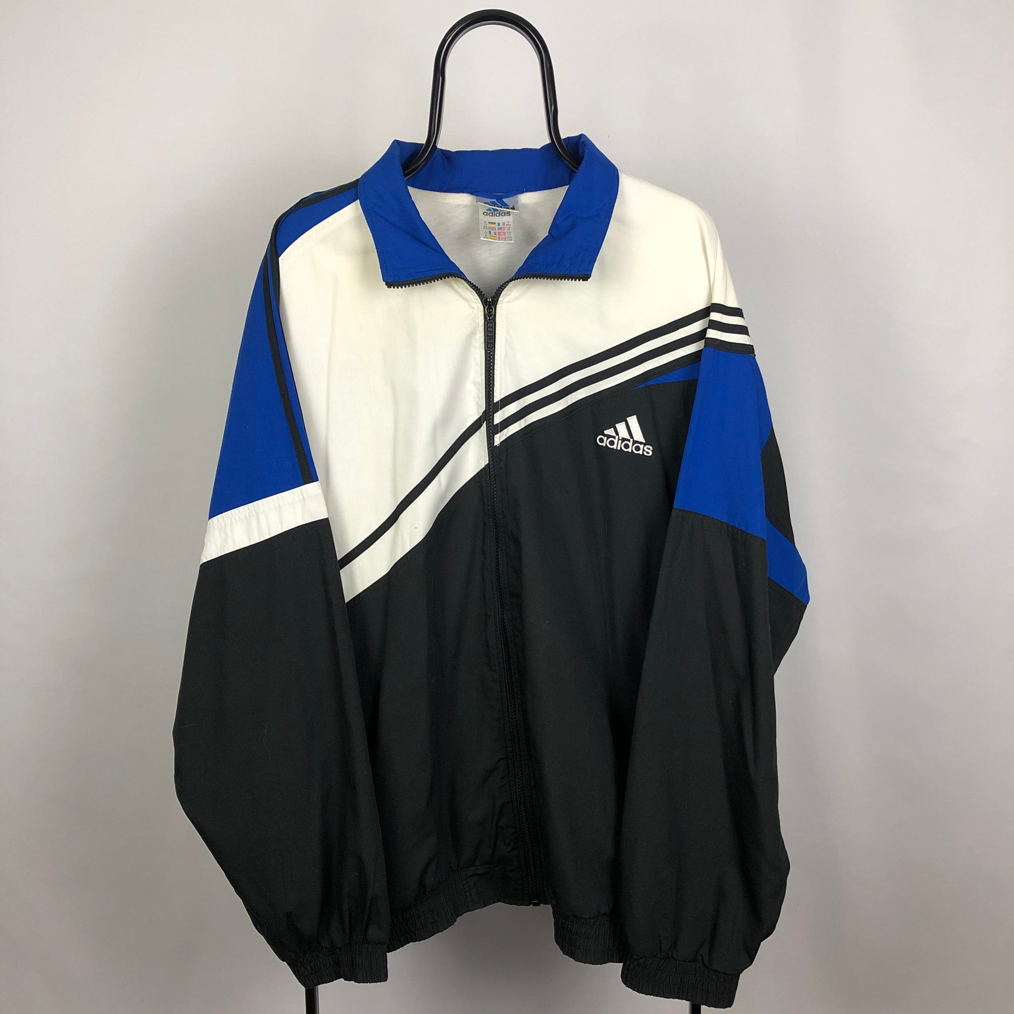 Adidas Track Jacket in Black/White/Blue - Men's XL/Women's XXL