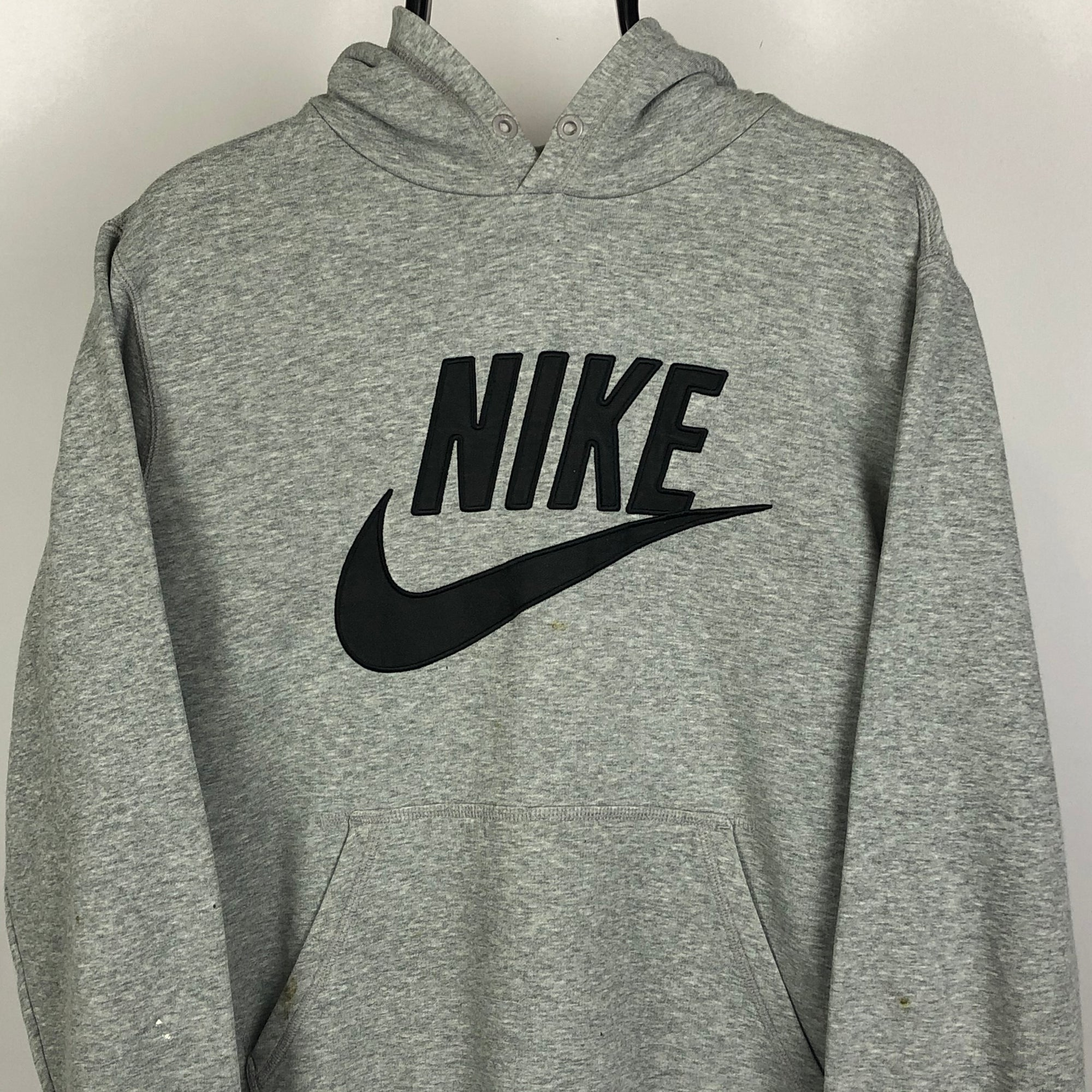 Vintage Nike Embroidered Spellout Hoodie in Grey - Men's Medium/Women's Large