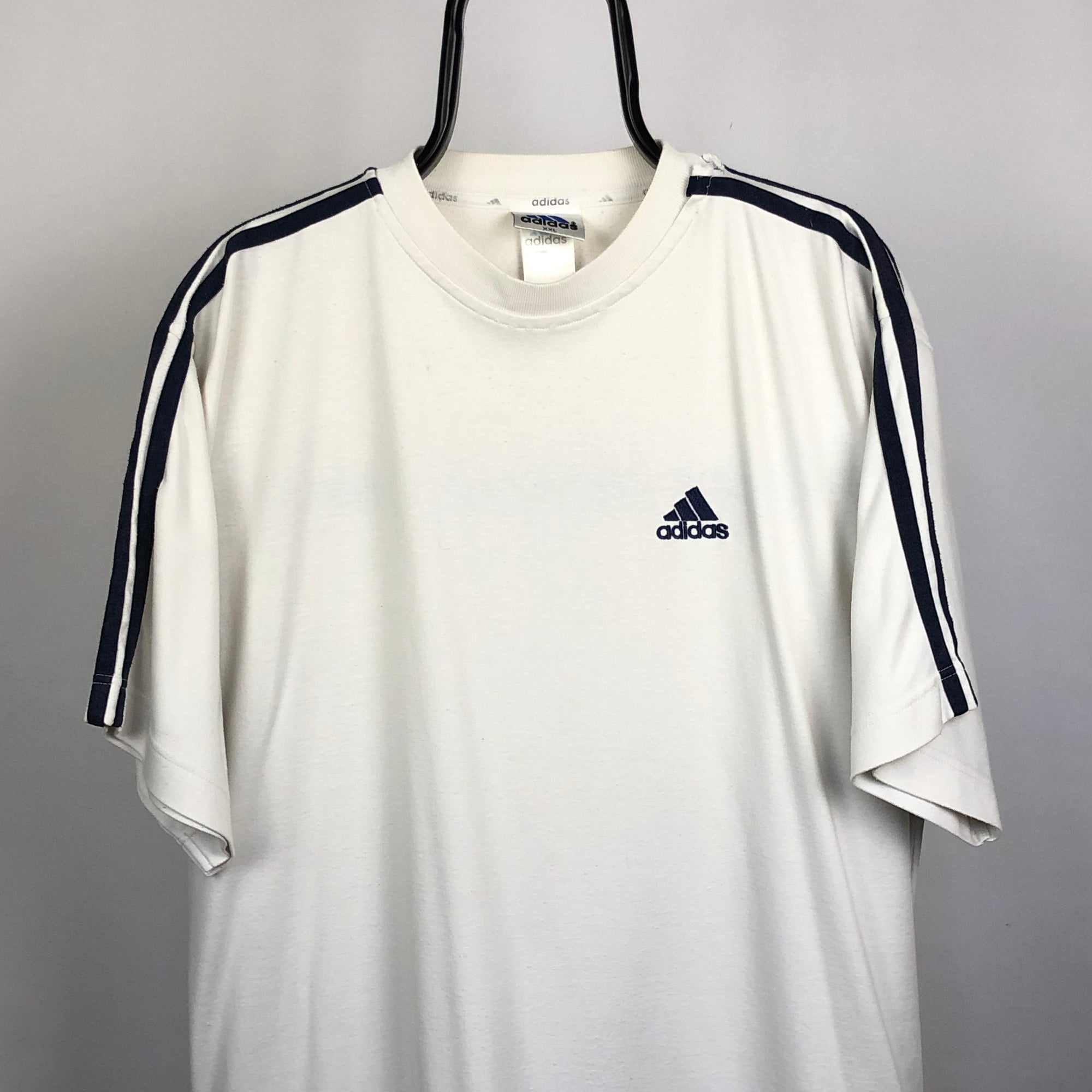 Vintage Adidas Embroidered Small Logo Tee in White - Men's XL/Women's XXL