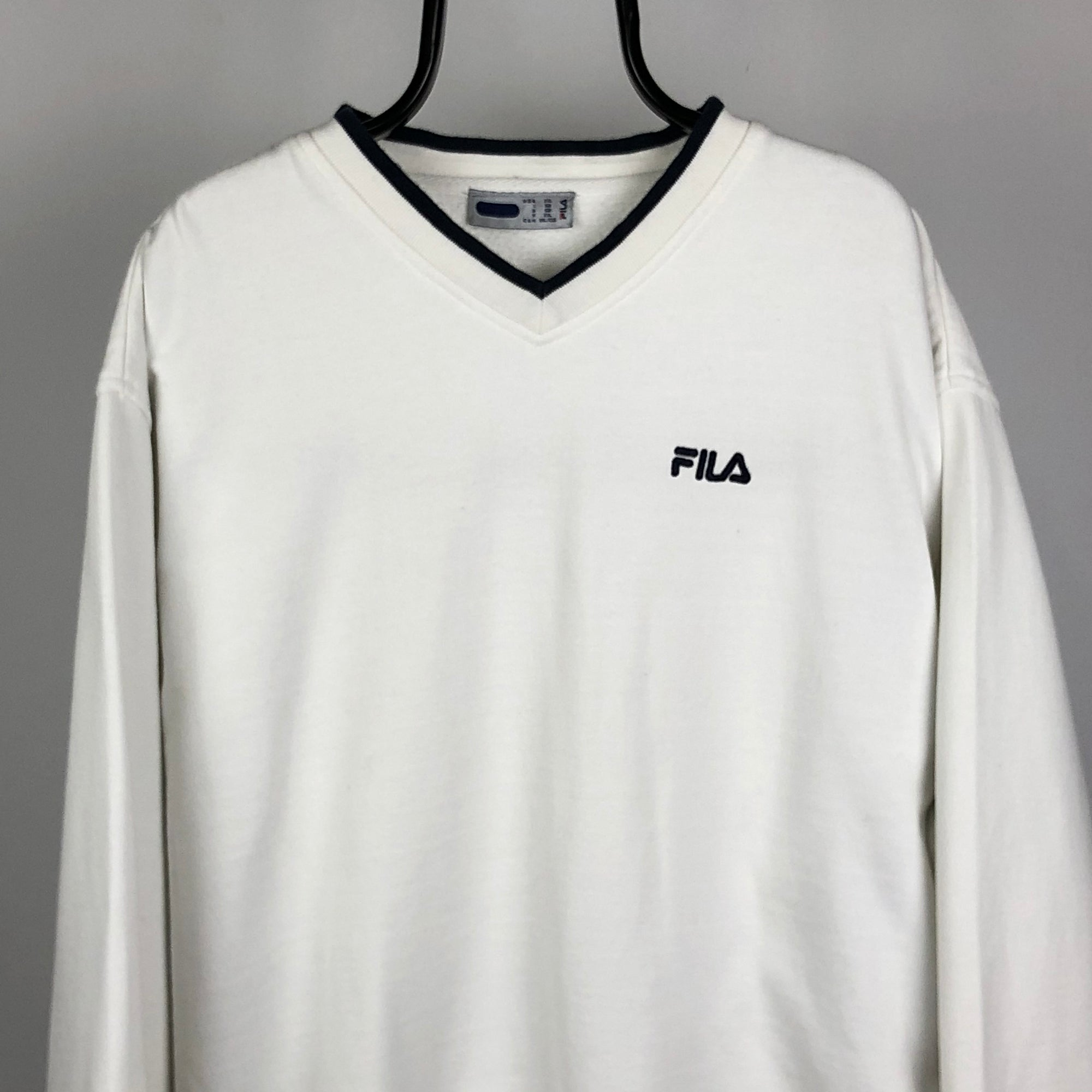 Vintage Fila Embroidered Small Spellout Sweatshirt in White/Navy - Men's XL/Women's XXL