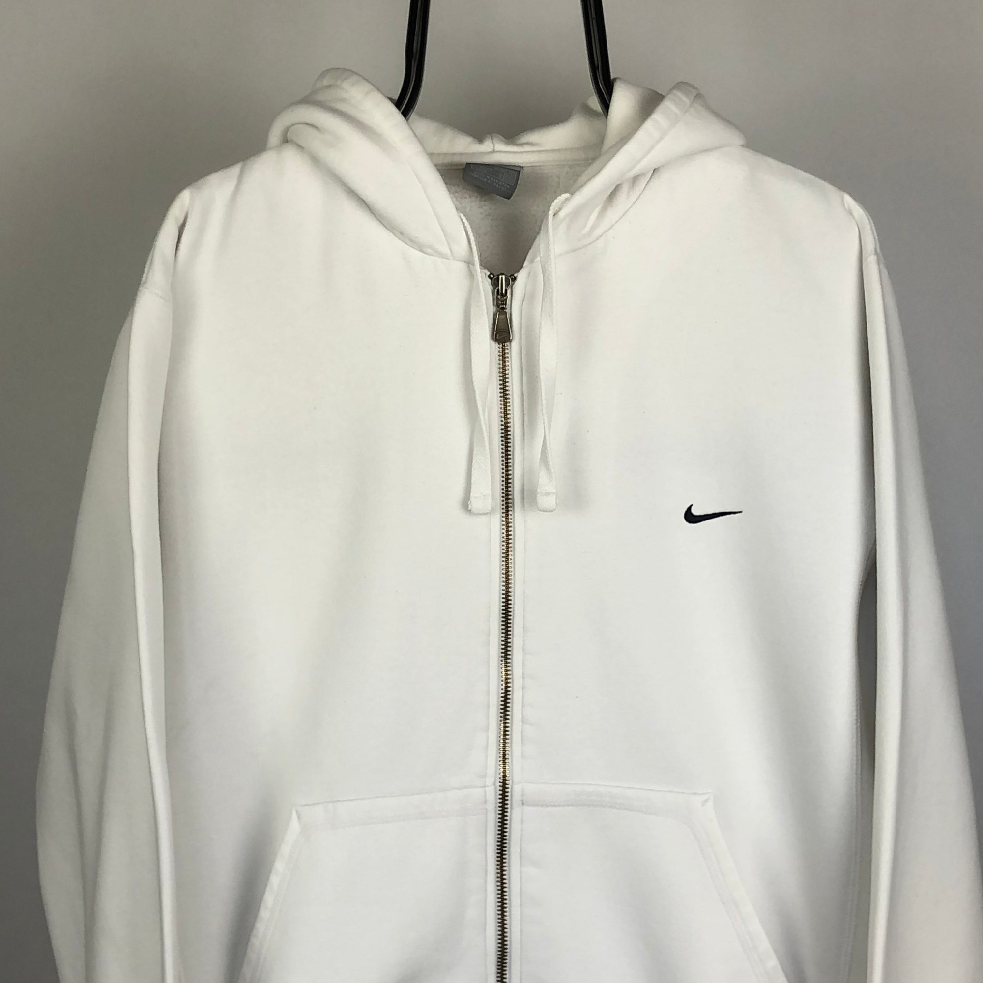 Nike Embroidered Small Swoosh Jacket in White - Men's Large/Women's XL
