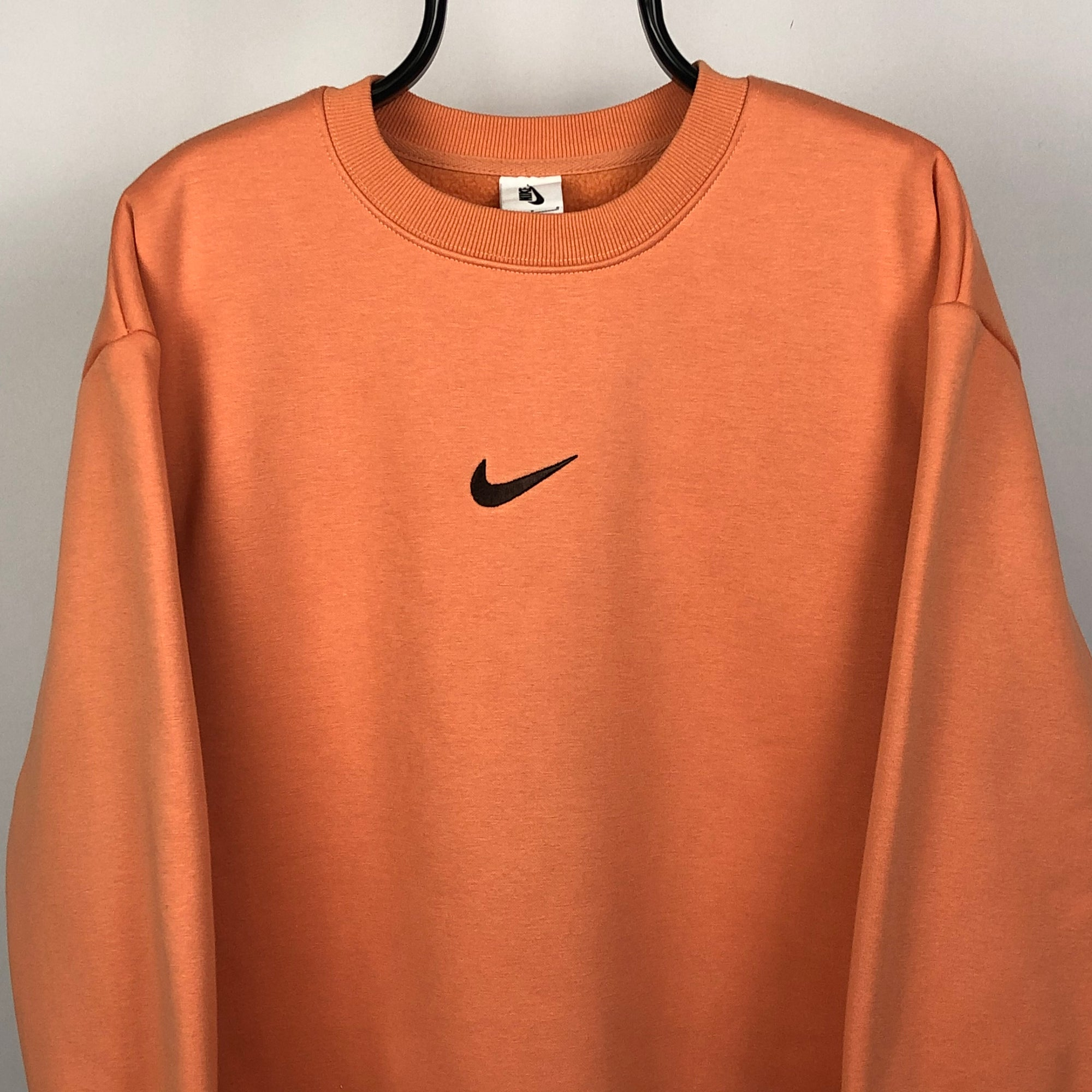 Nike Centre Embroidered Swoosh Sweatshirt in Orange - Men's Large/Women's XL