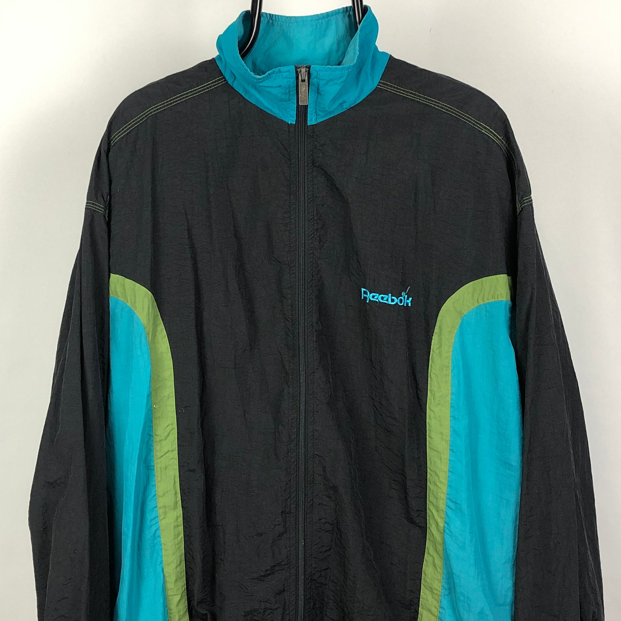 Vintage Reebok Spellout Track Jacket in Turquoise/Green - Men's Large/Women's XL