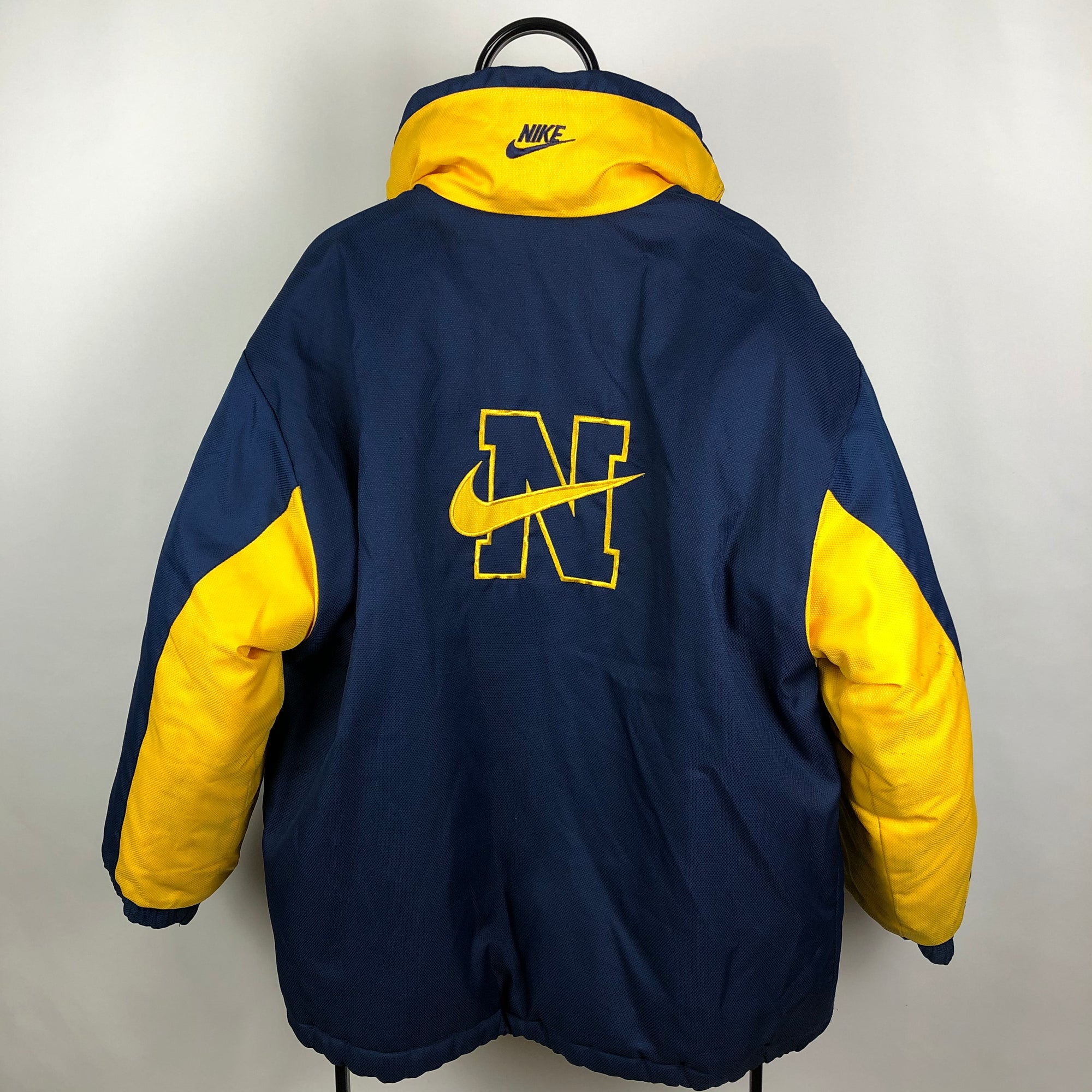 Vintage Nike Reversible Puffer Coat in Navy/Yellow - Men's Large/Women's XL