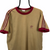 VINTAGE 90S ADIDAS SMALL LOGO TEE IN LIGHT BROWN & BURGUNDY - MEN'S LARGE/WOMEN'S XL