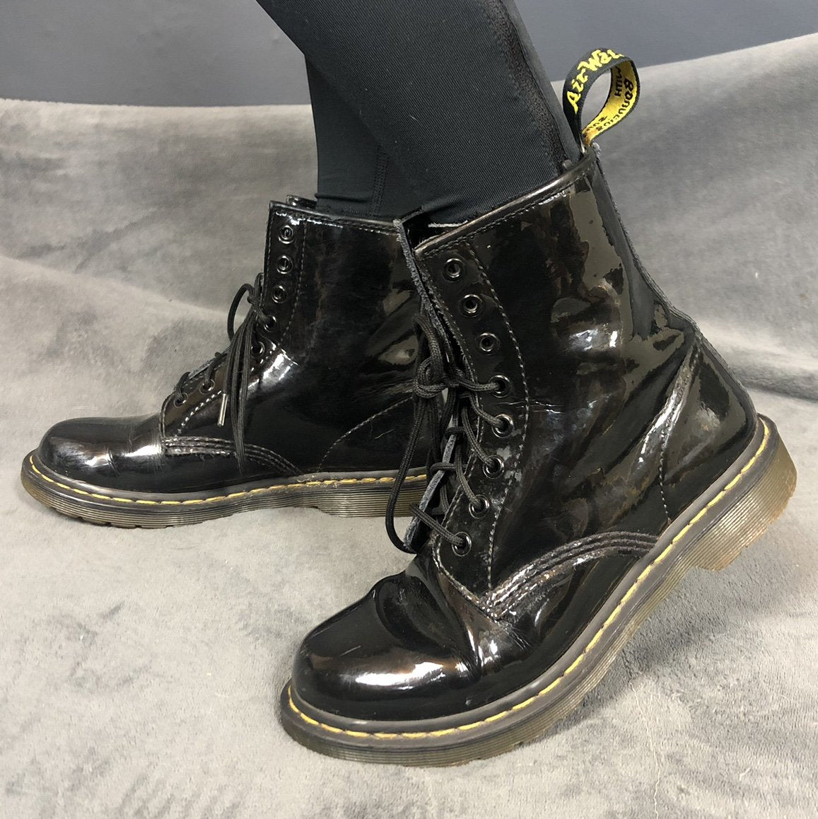 Dr Martens Patent Leather Boots - Size UK 6 - Vintique Clothing