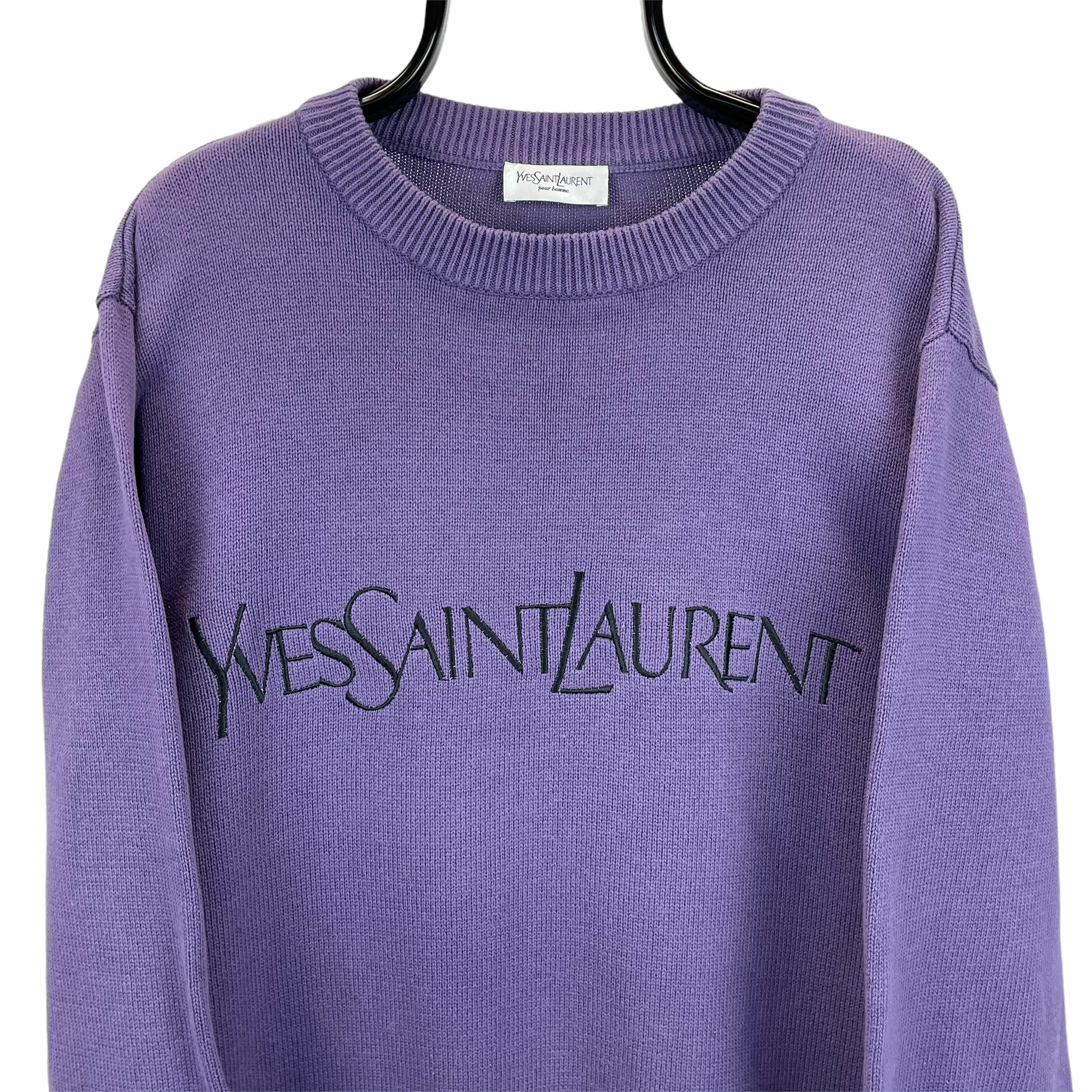 Vintage YSL Spellout Knit Sweater in Purple - Men's Large/Women's XL