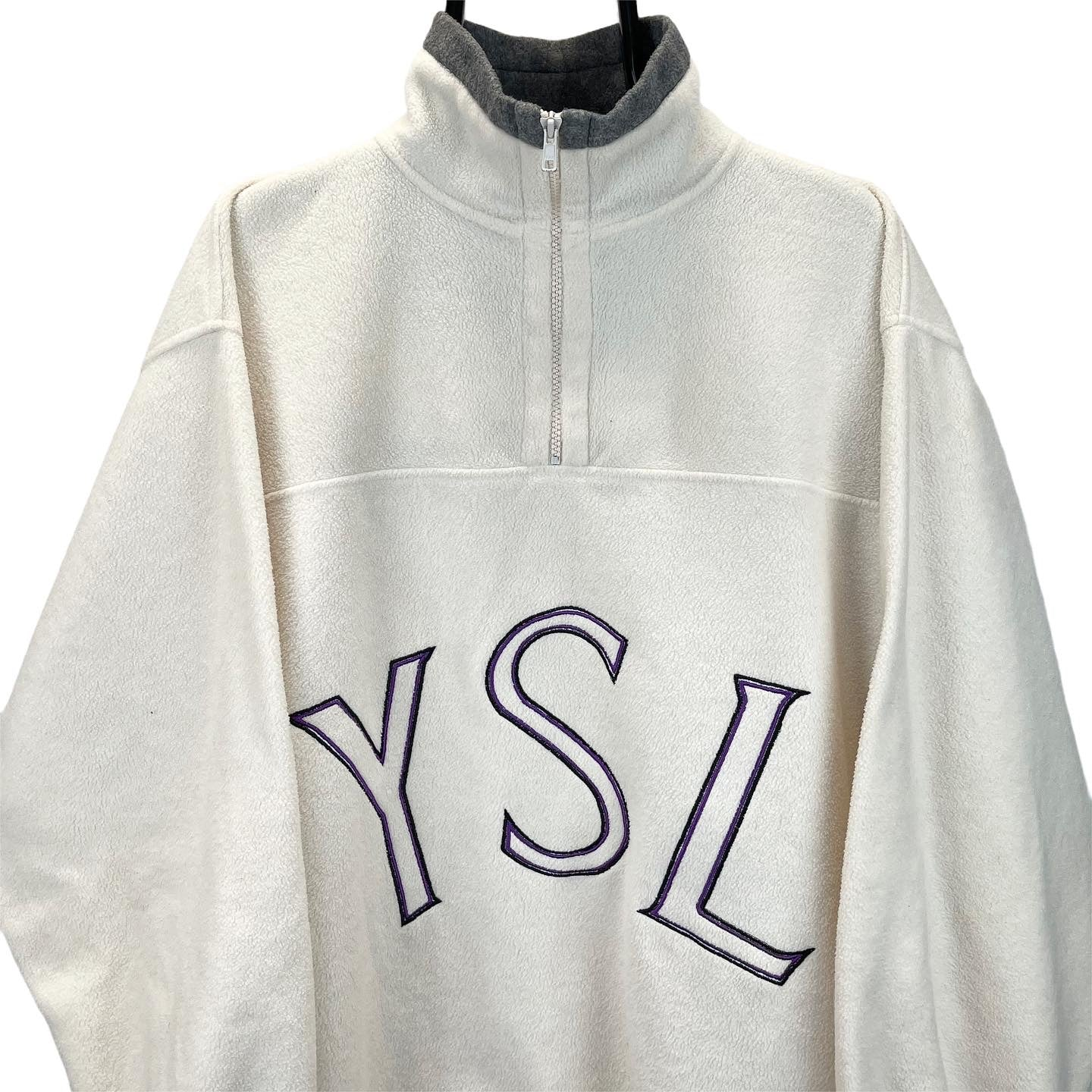 Vintage YSL Spellout 1/4 Zip Fleece in Cream & Purple - Men's XL/Women's XXL