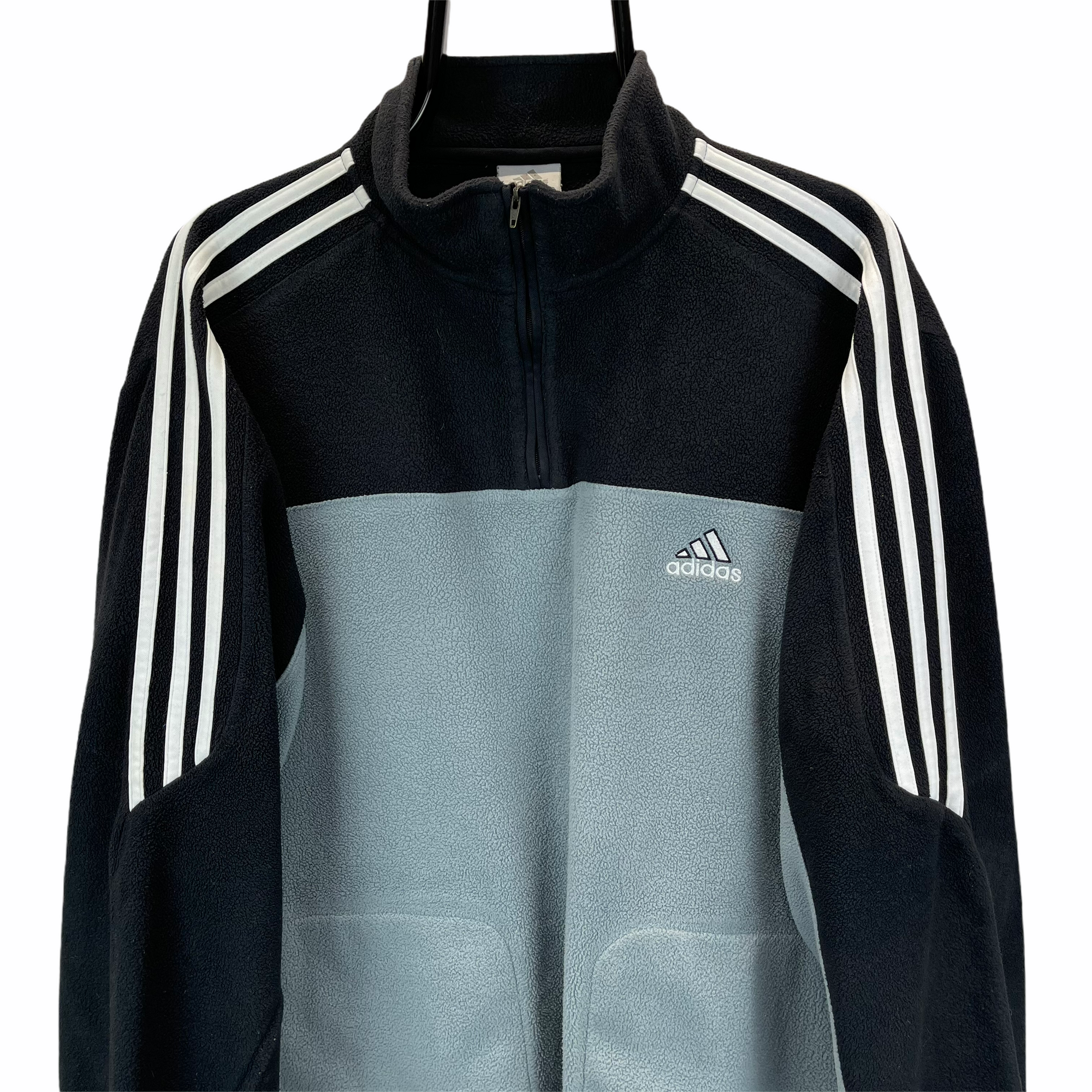 VINTAGE ADIDAS FLEECE IN DUCK EGG BLUE & BLACK - MEN'S LARGE/WOMEN'S XL