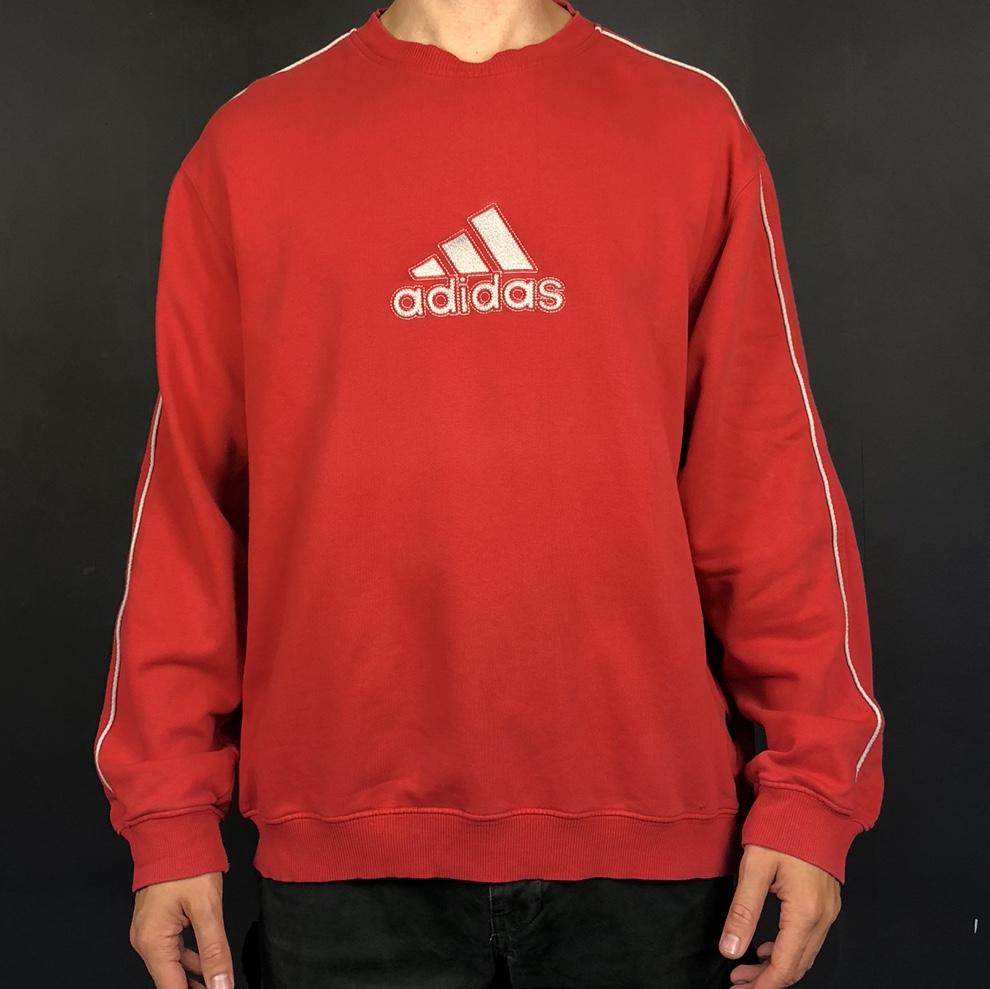Vintage Adidas Spellout Sweatshirt with Embroidered Spellout - Large - Vintique Clothing