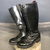 Vintage Shark Punk Boots in Patent Black Leather - Size UK5/EU38 - Vintique Clothing