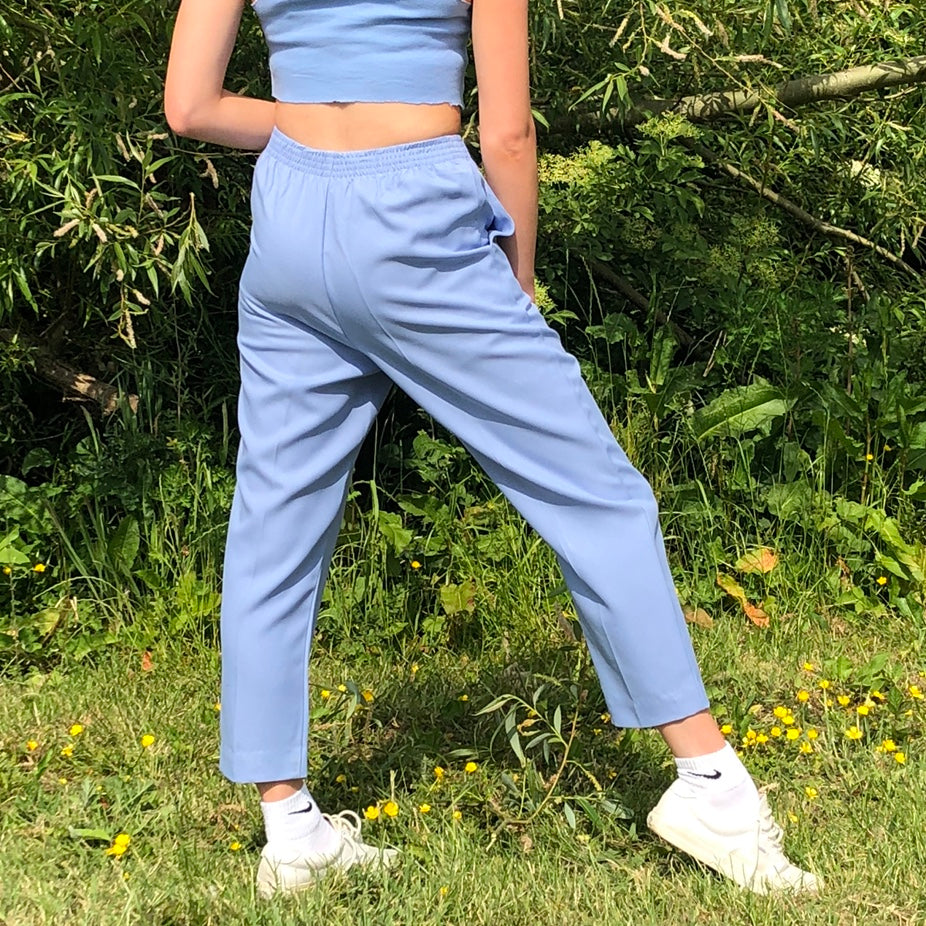 Vintage Relaxed Lightweight Trousers in Light Blue - Small