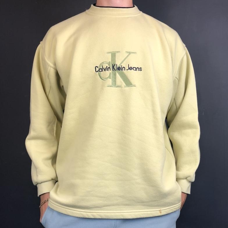 Vintage Calvin Klein Spellout Sweatshirt with Embroidered Spellout & Logo - Vintique Clothing