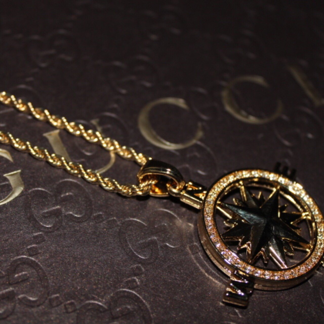 Iced Out Gold Detailed Compass Pendant - Vintique Clothing
