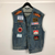 VINTAGE DENIM VEST WITH Motorsport EMBROIDERED PATCHES - MEN'S Large/XL - WOMEN'S XXL