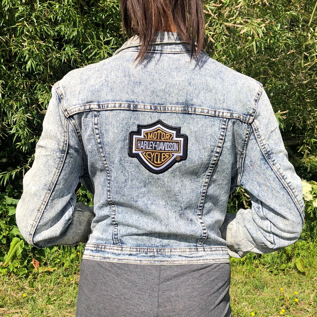 Vintage Harley Davidson Denim Jacket In Acid Wash - Small