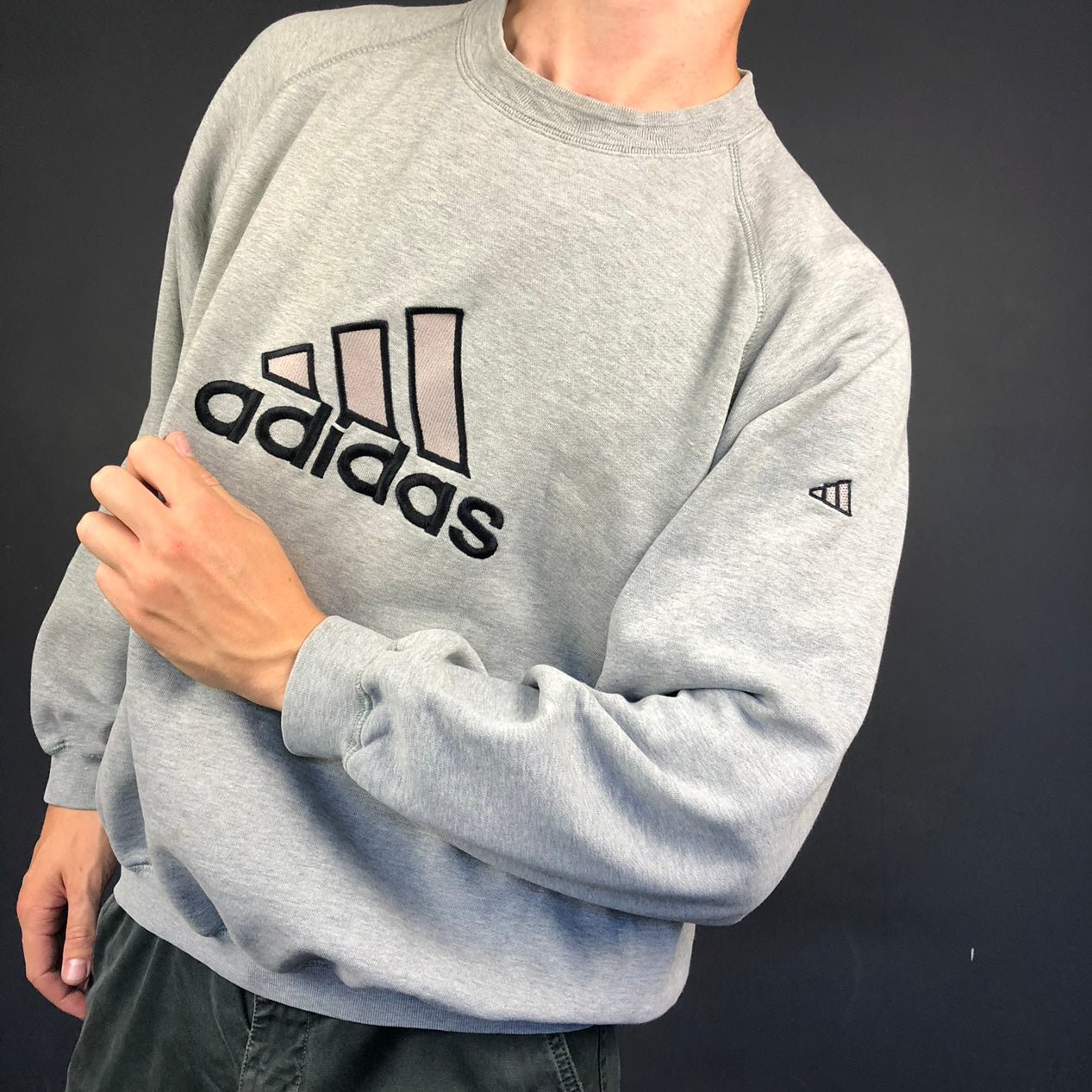 Vintage Adidas Spellout Sweatshirt with Embroidered Spellout - Large/XL