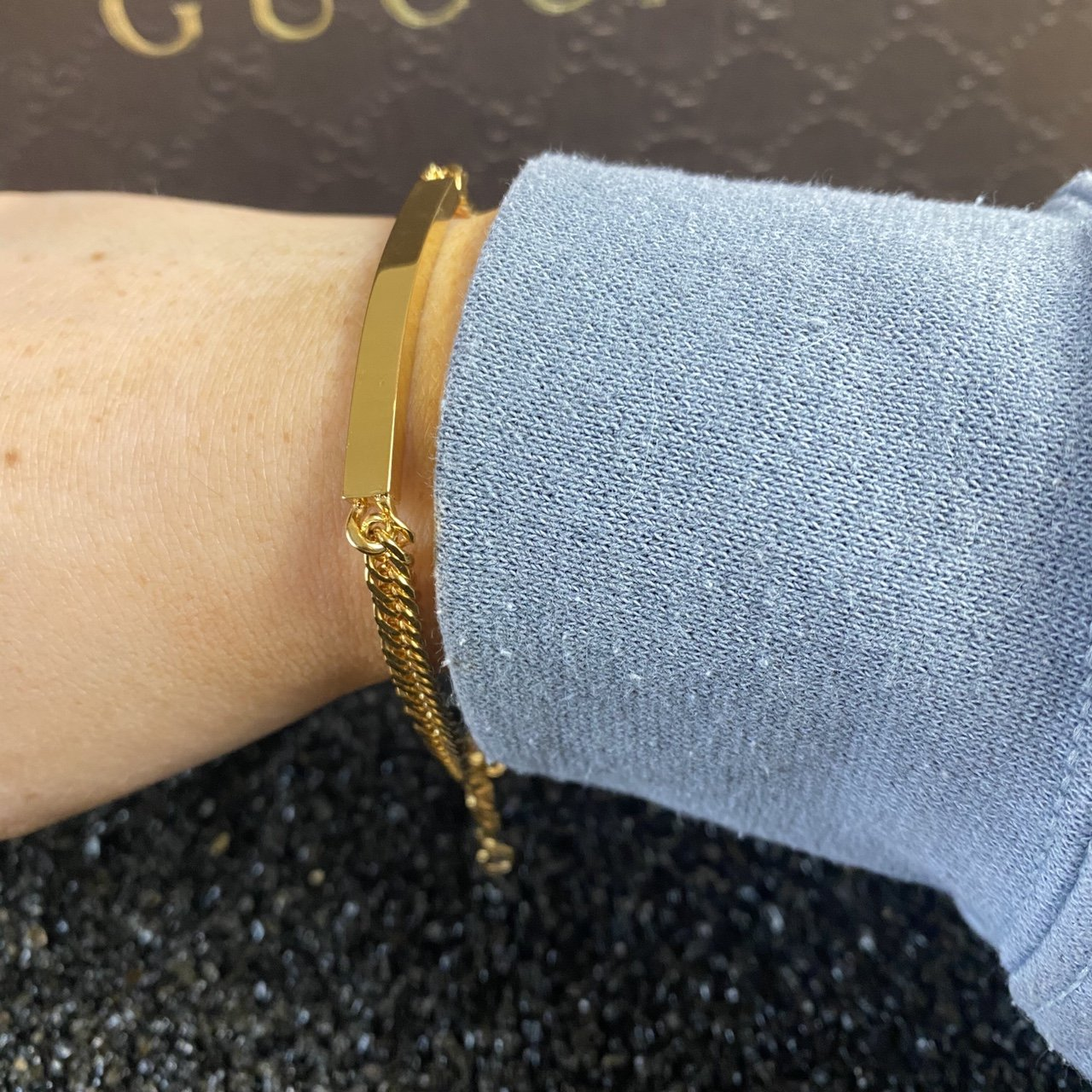 Women's Gold Curb Identity Bar Bracelet - Vintique Clothing