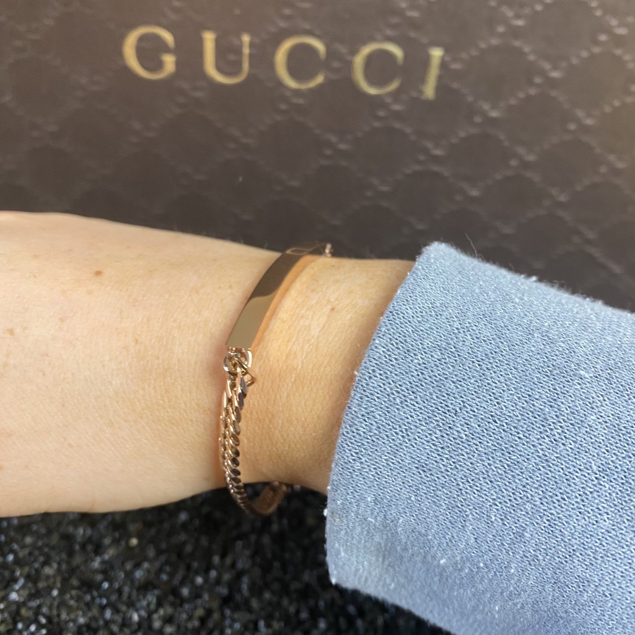 Women's Rose Gold Curb Identity Bar Bracelet - Vintique Clothing
