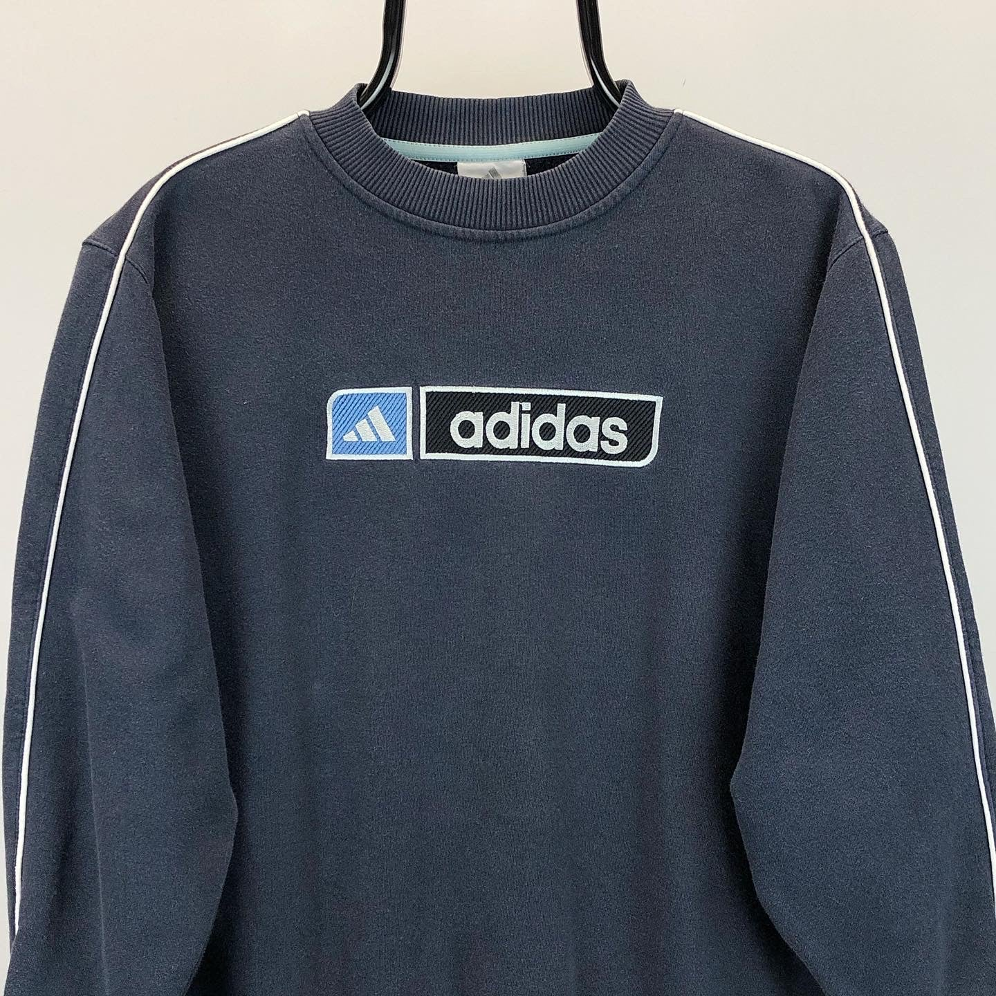 Vintage Adidas Spellout Sweatshirt in Navy - Men's Small/Women's Medium