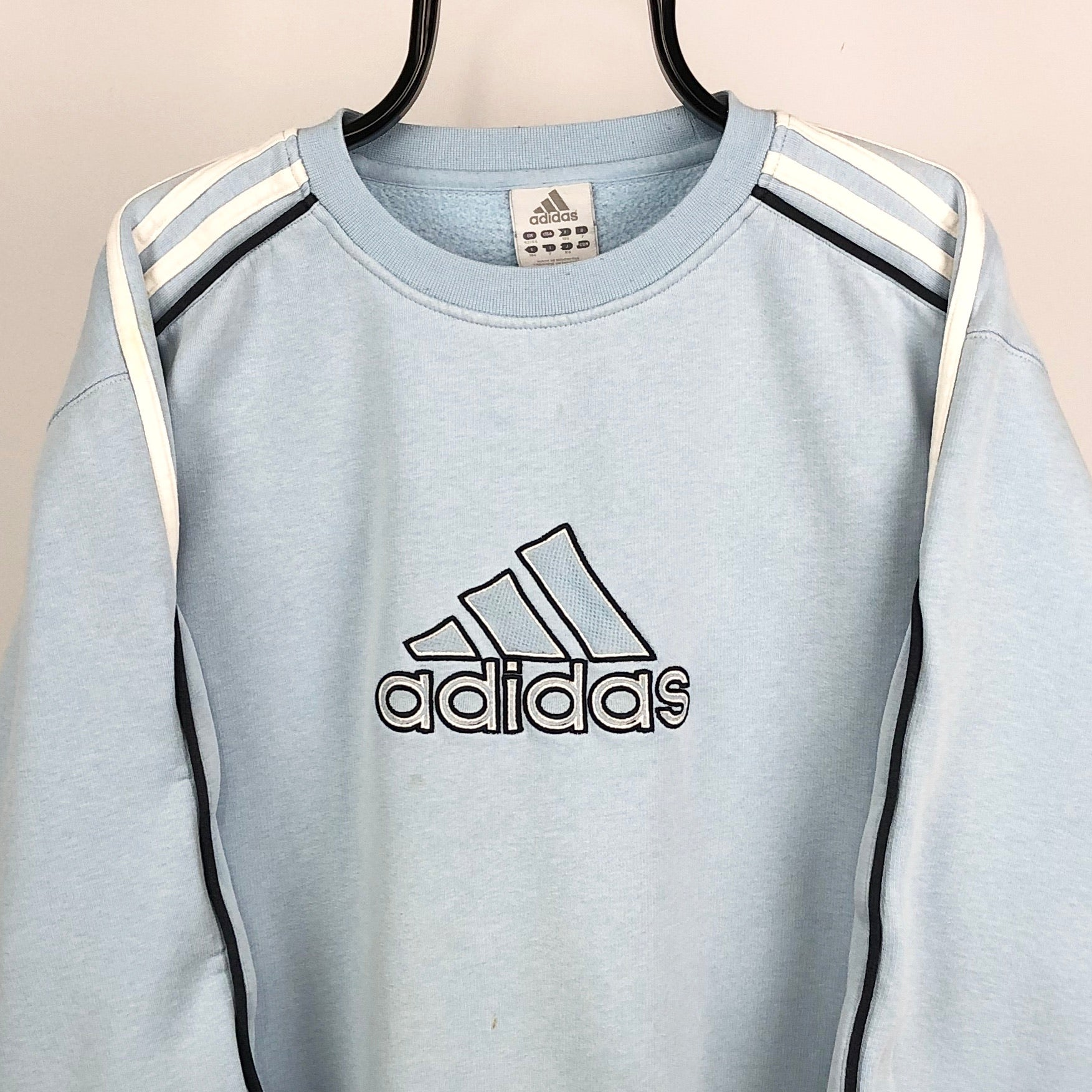 Vintage Adidas Spellout Sweatshirt in Baby Blue - Men's Large/Women's XL