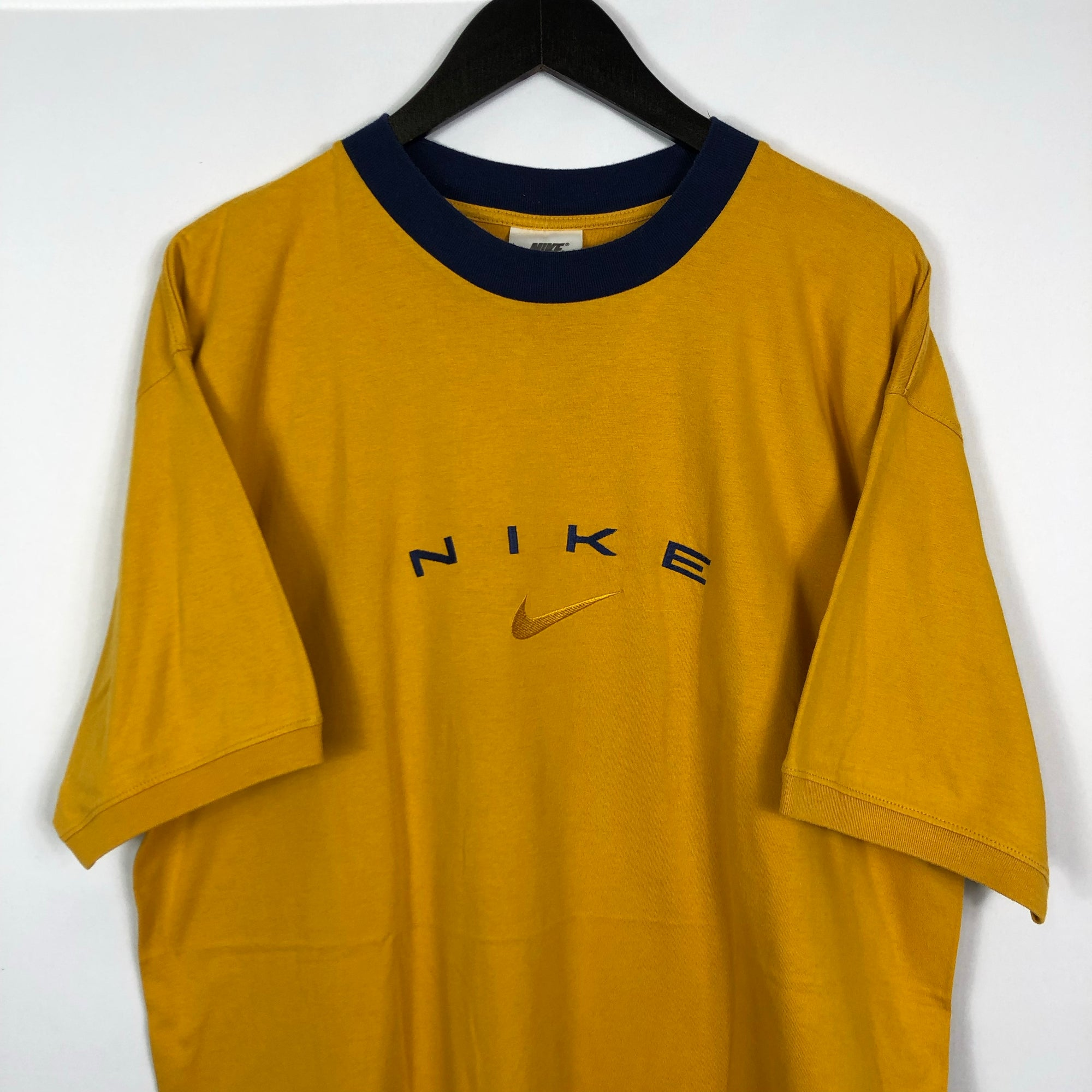 Vintage Nike Spellout Tee in Yellow & Navy - XL