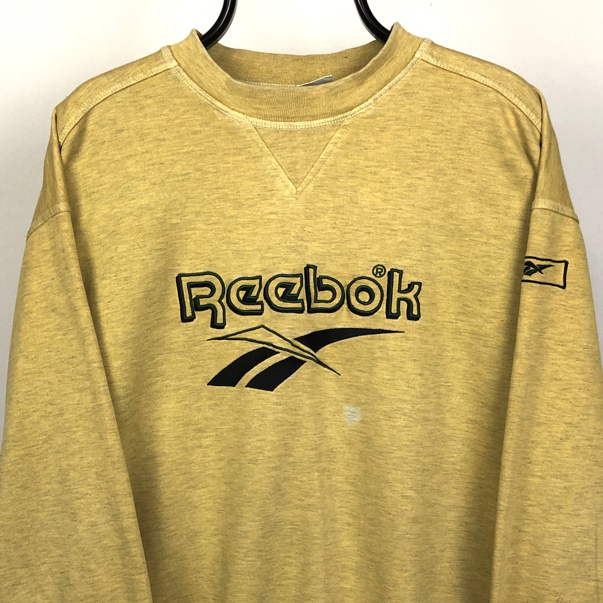 Vintage Reebok Spellout Sweatshirt in Yellow - Men's Large/Women's XL