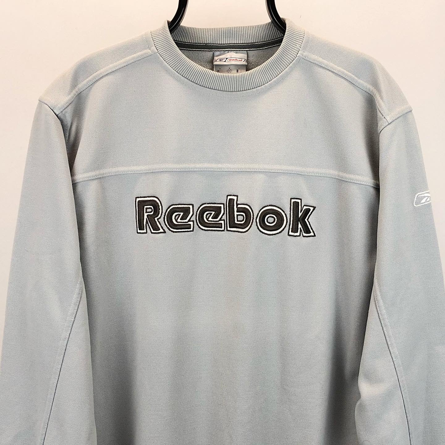 Vintage Reebok Spellout Sweatshirt in Silver/Grey - Men's Medium/Women's Large