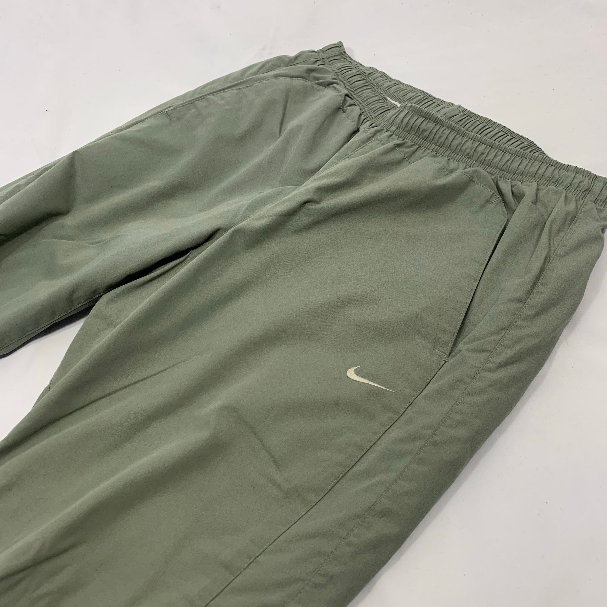 Vintage Nike Track Pants in Sage Green - Medium