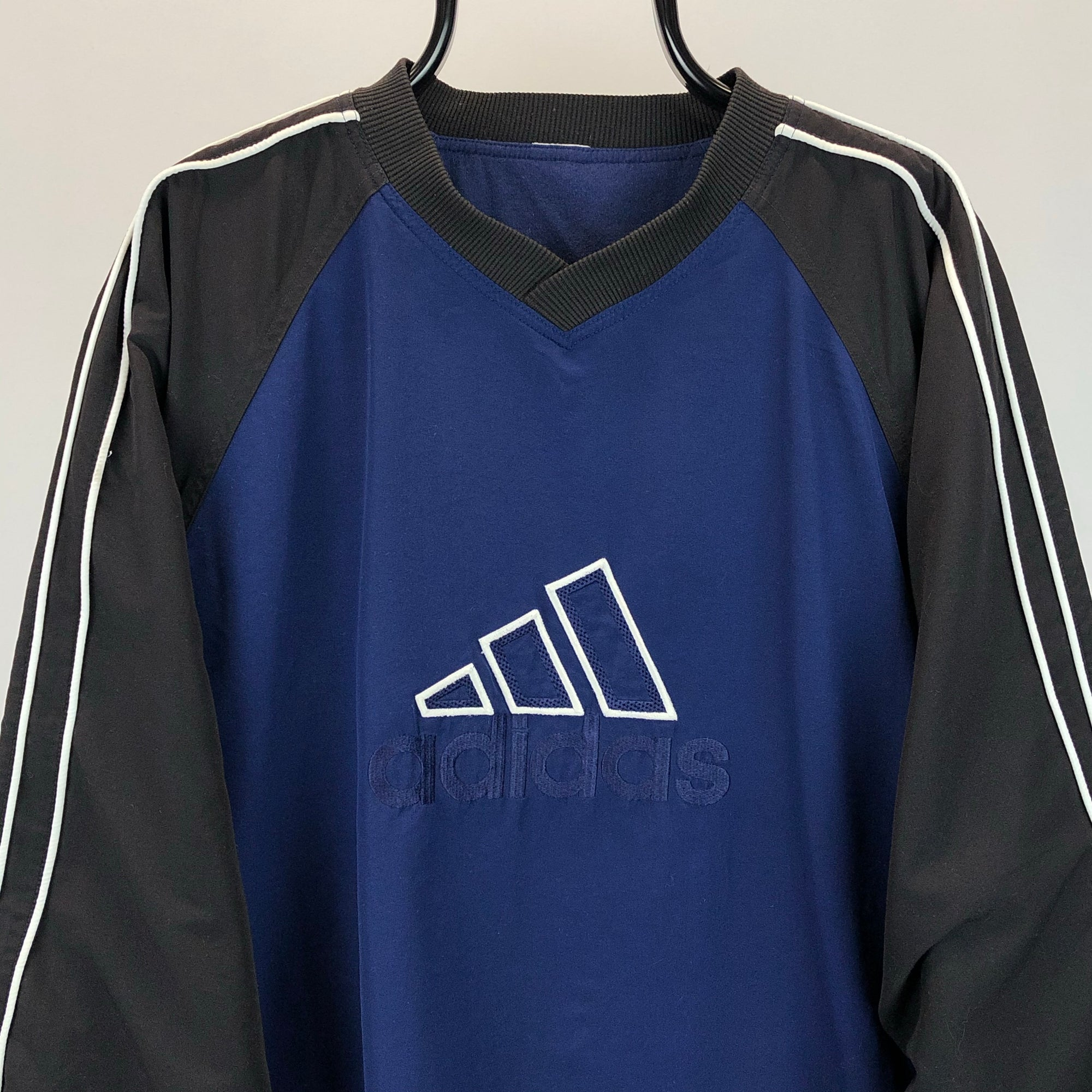 Vintage 90s Adidas Lined Nylon Sweatshirt in Navy & Blue - Men's Large/Women's XL