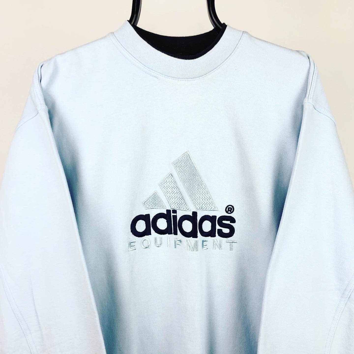 Vintage 90s Adidas Equipment Spellout Sweatshirt in Baby Blue - Men's Large/Women's XL