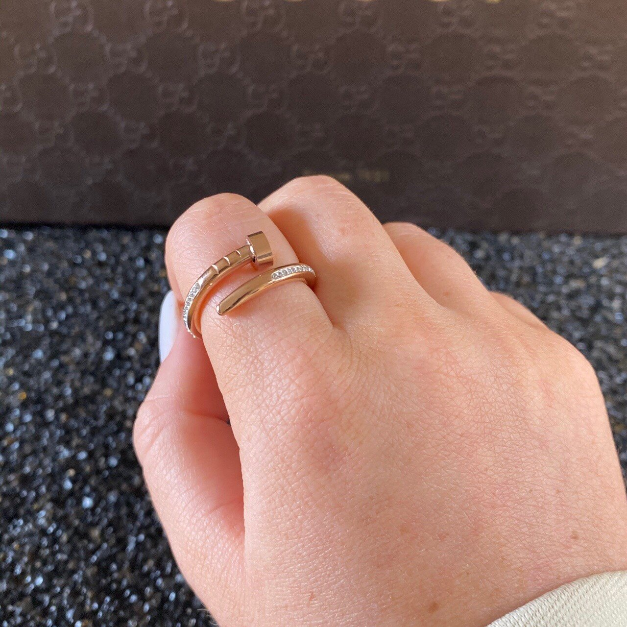 Women's Classic Nail Rose Gold Diamond Ring - Vintique Clothing