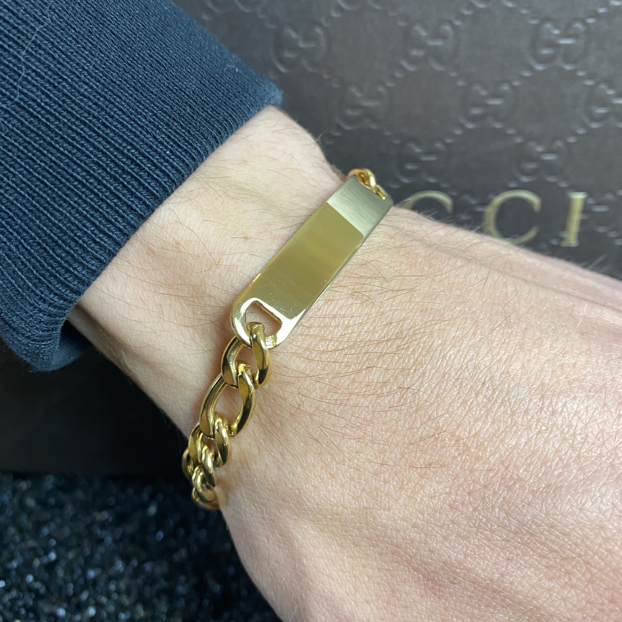 Gold Curb Identity Bar Bracelet - Oval link - Vintique Clothing
