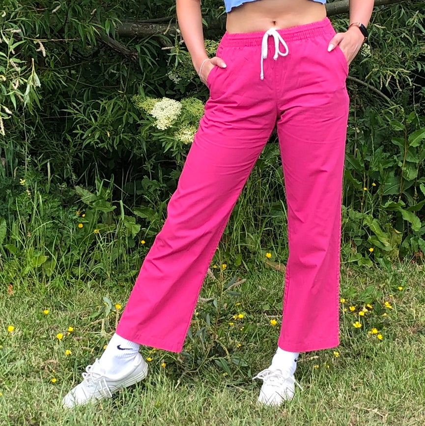Vintage Relaxed Lightweight Trousers in Hot Pink - XS