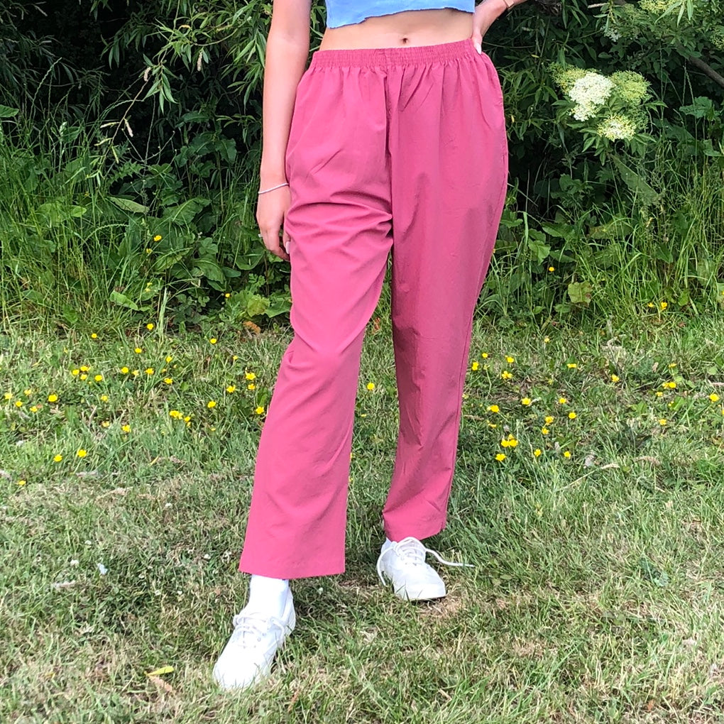 Vintage Relaxed Lightweight Trousers in Salmon Pink - Small