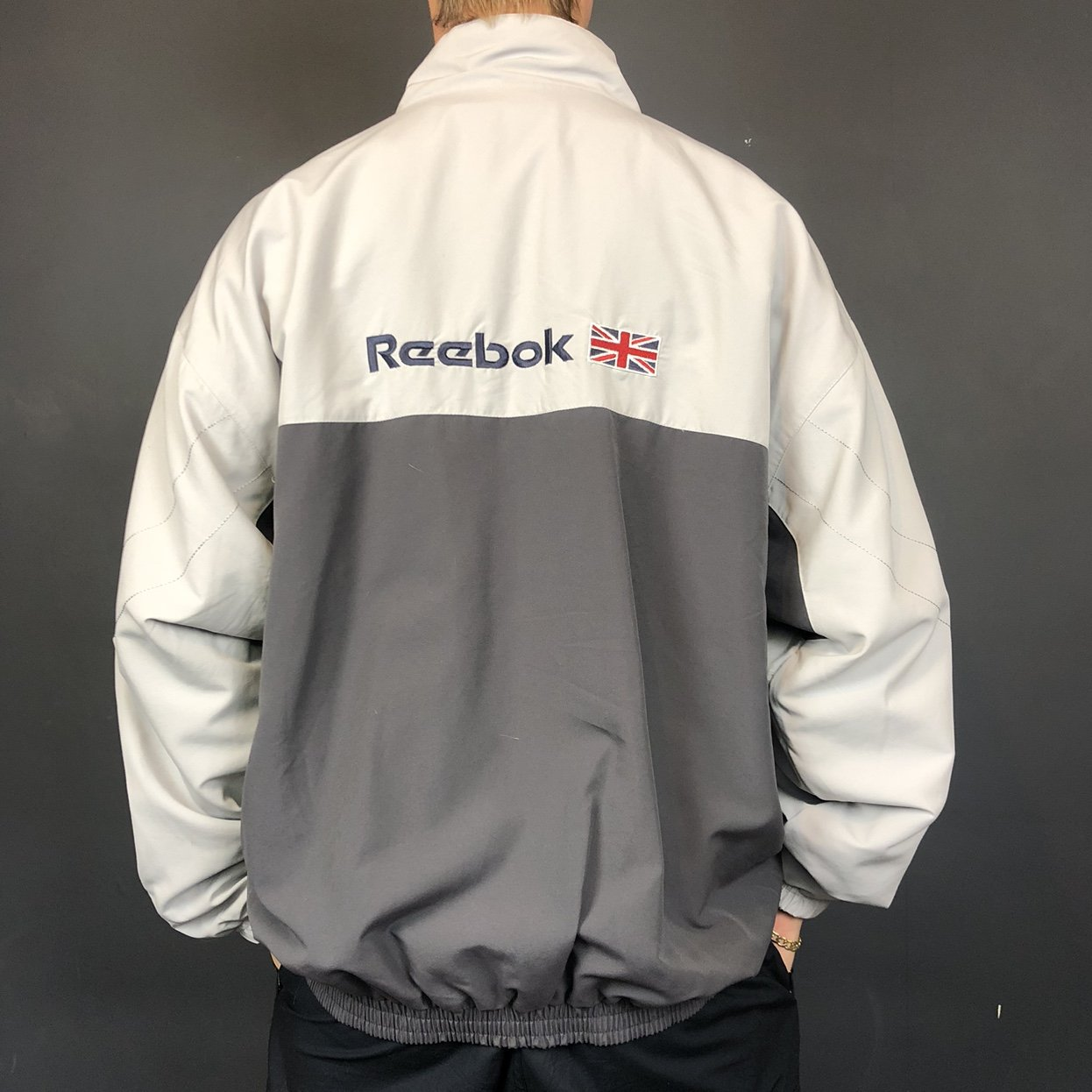 Vintage Reebok Jacket with Embroidered Spellout & Logo - XL - Vintique Clothing